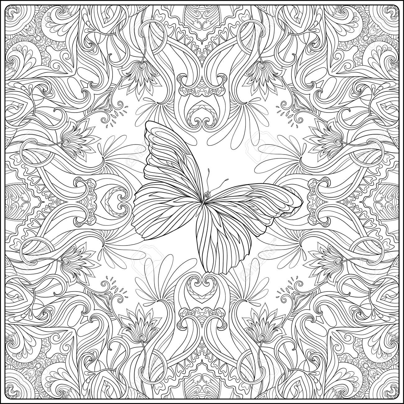 Pattern With Traditional Japanese Motifs Butterflies And Love Hearts Coloring Book For Adult