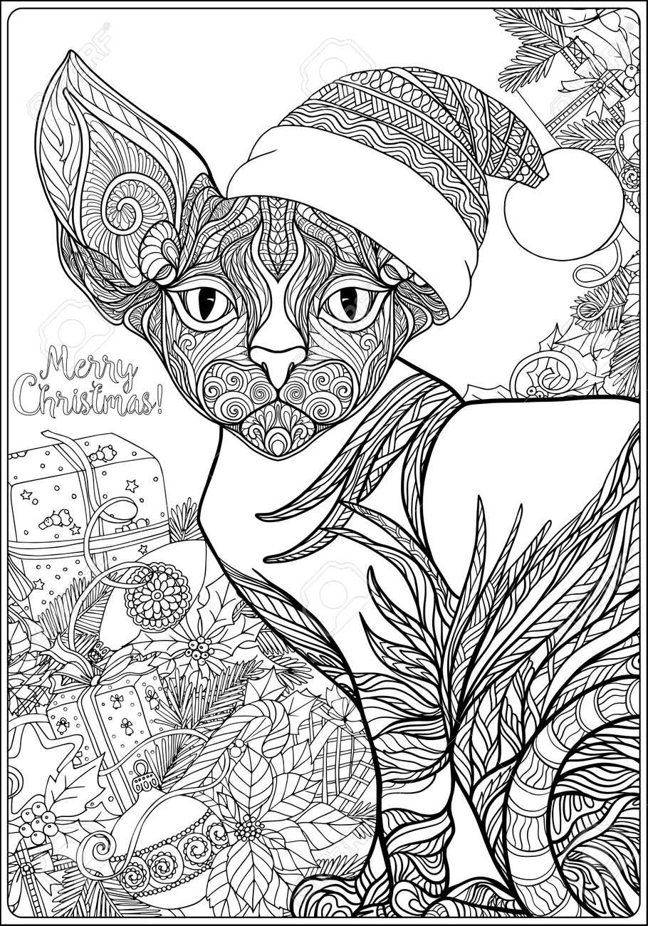 Gato Modelado Decorativo No Chapéu De Papai Noel Em Um Fundo Da árvore De Natal Com Brinquedos E Presentes Livro Para Colorir Para Adultos Contorno