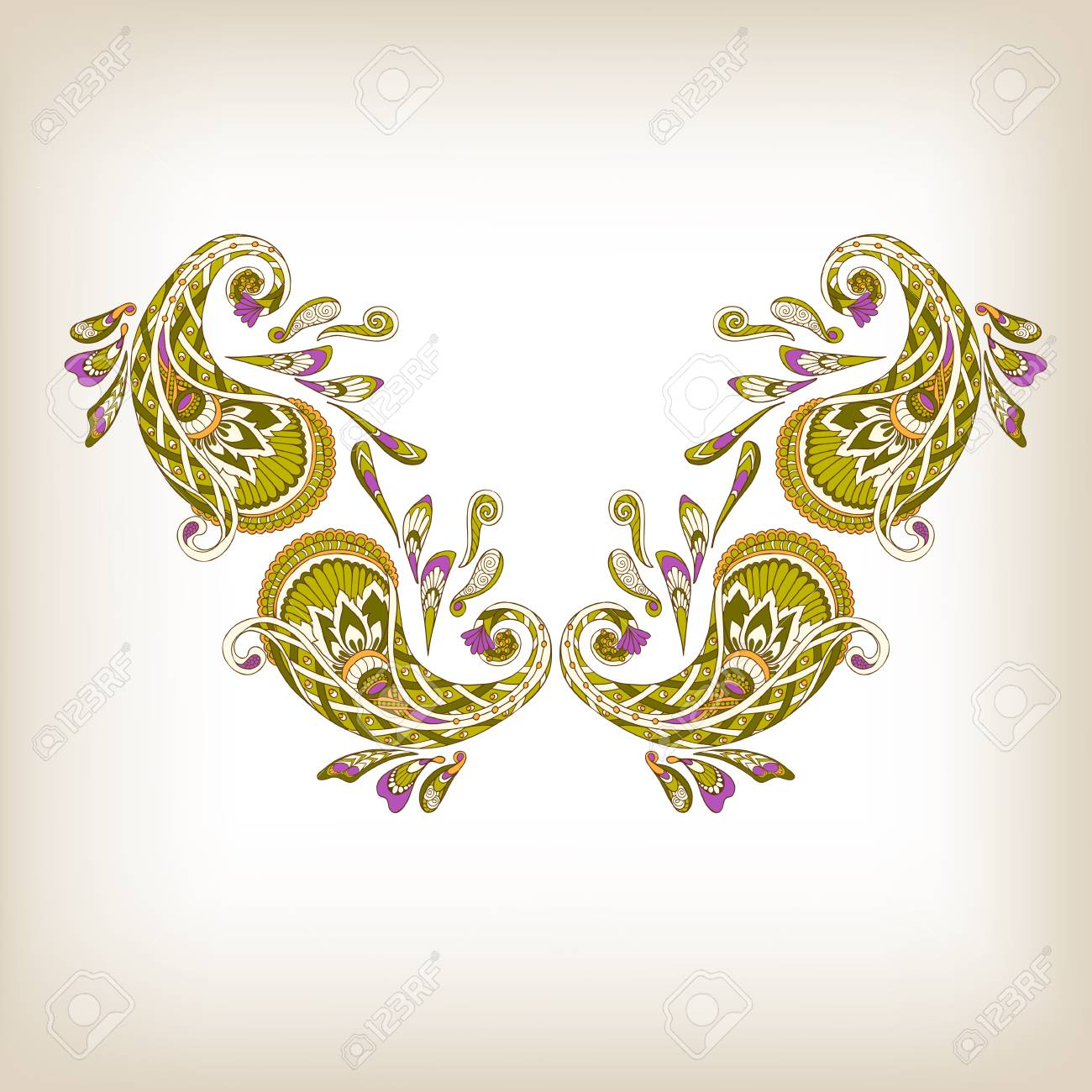 Diseños De Bordado En La Línea Del Cuello Decorados Con Paisley ...