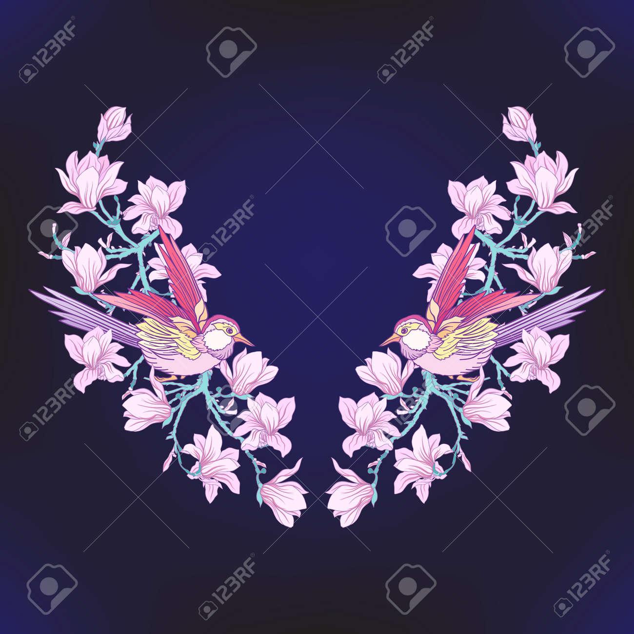 Diseños De Bordado Línea De Cuello Con Un Patrón De Flores Y Ramas ...