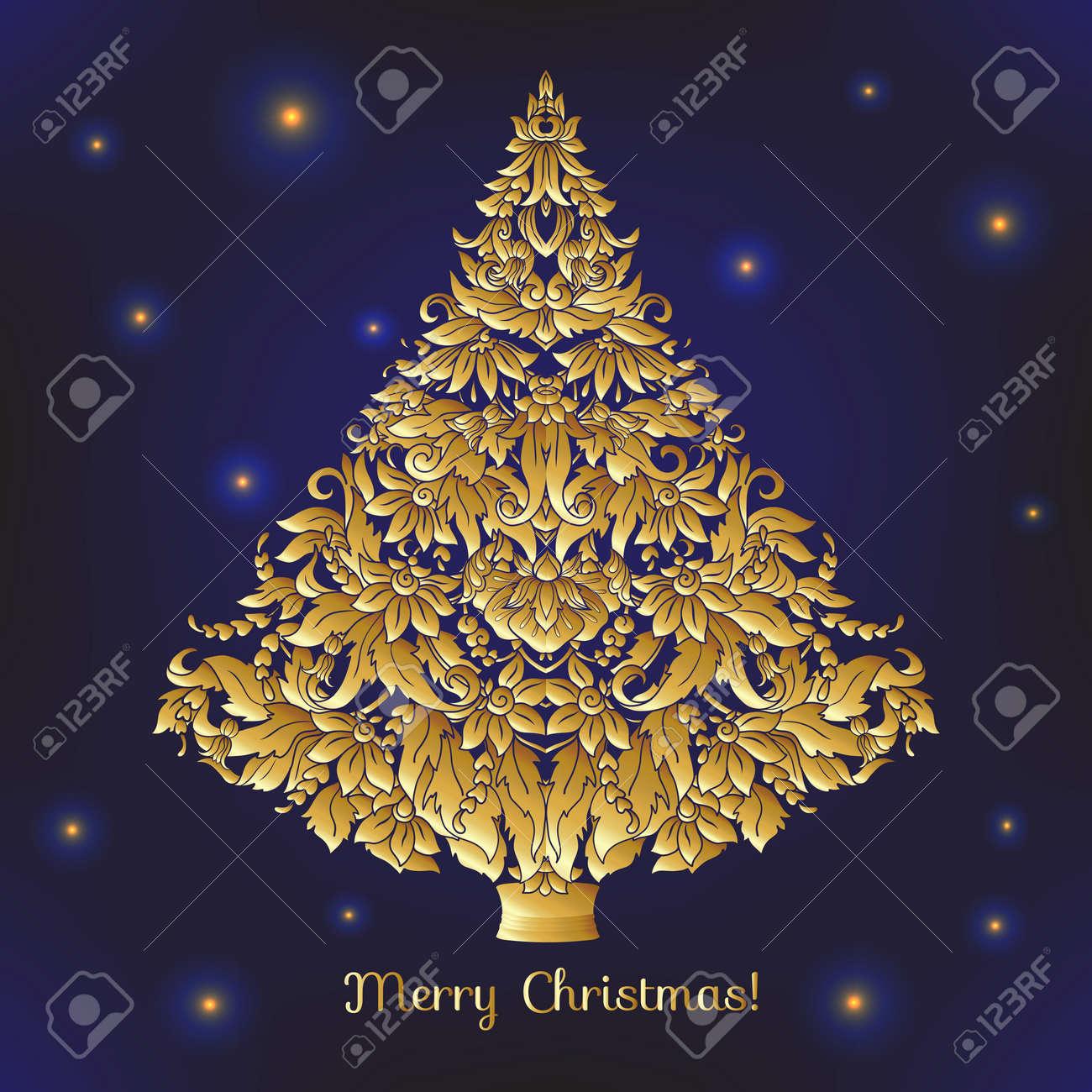 Rbol De Navidad Decorativo De Oro Bueno Para La Tarjeta De Felicitación De Cumpleaños Invitación O Banner Ilustración De Vector De Línea De Stock