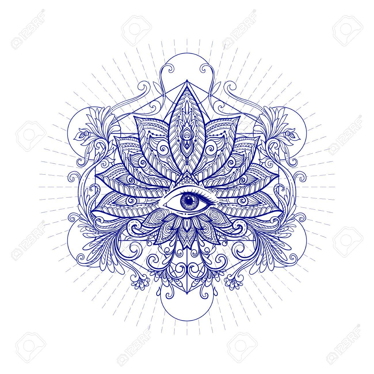 Vector Lotus Ornemental Fleur La Geometrie Sacree Oeil Hand Drawn