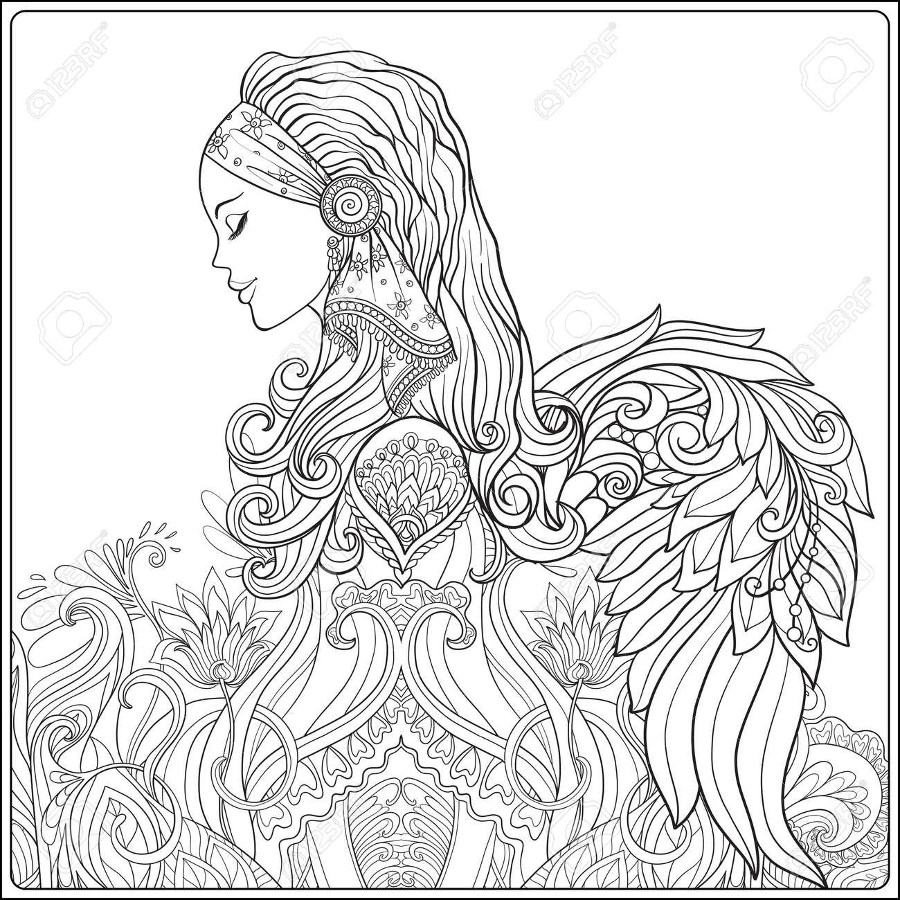 Jeune Femme Avec De Longs Cheveux En Costume Medieval Avec Des Ailes D Ange Sur Decoratif Motif De Fond Portrait De Profil Le Style Decoratif