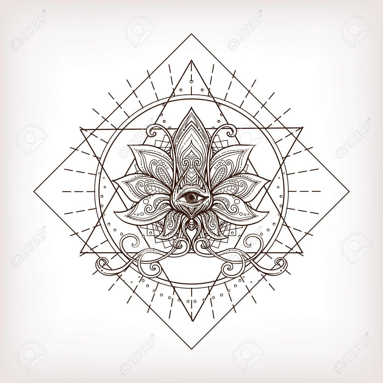Vector Ornamental Lotus Flower Sacred Geometry Eye Hand Drawn