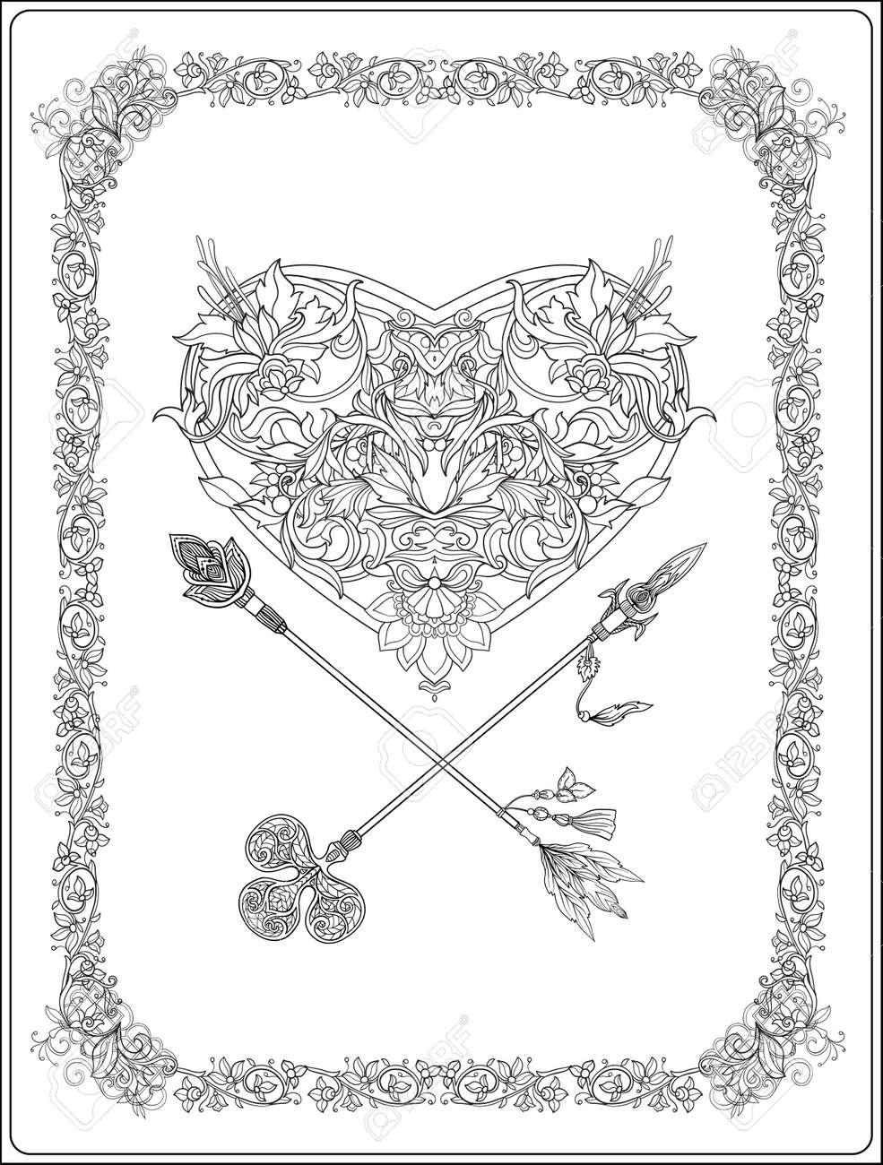 Vettoriale   Cuore Decorativo Con Frecce Decorative In Stile