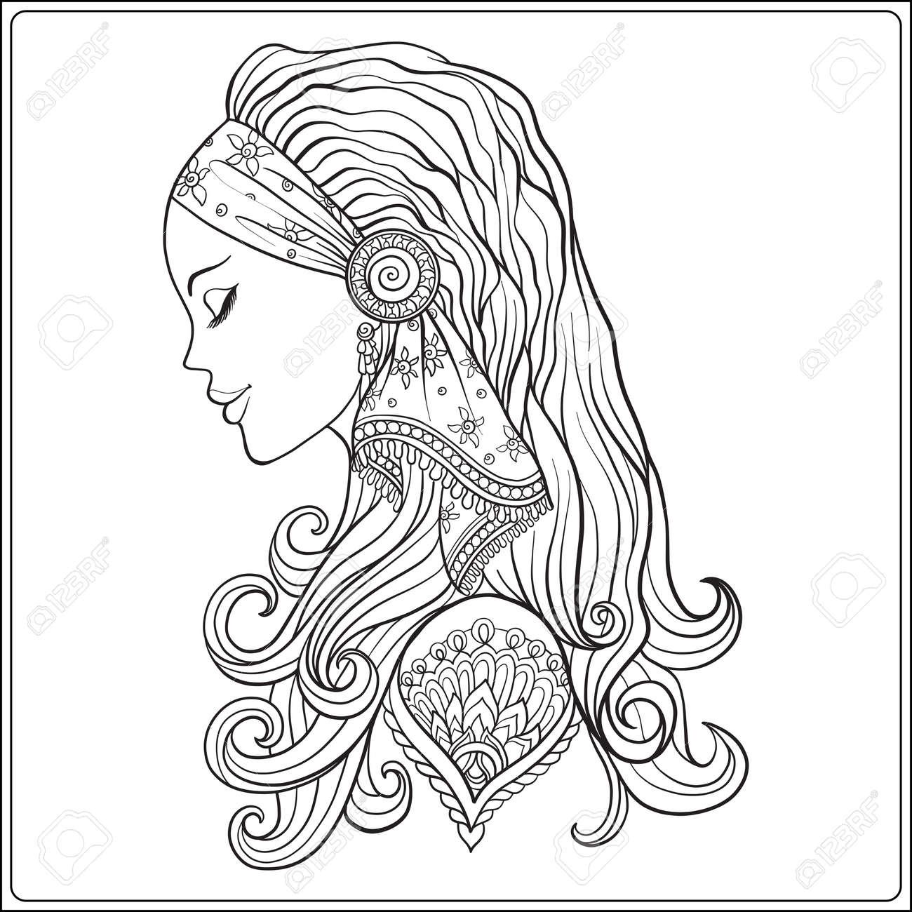 Jeune Femme A Longs Cheveux En Costume Medieval Portrait De Profil Le Style Decoratif Illustration Vectorielle De Ligne De Stock Livre A