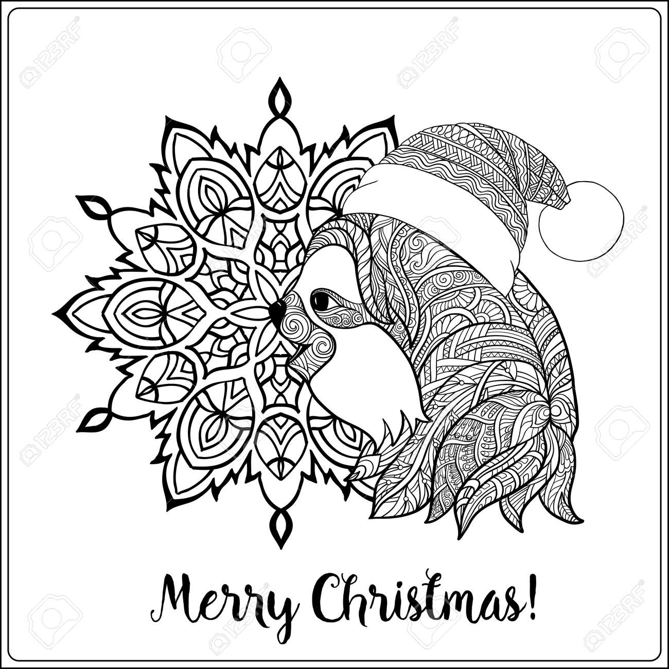 Decorative Patterned Sloth In The Hat Of Santa Claus On A Snowflake ...