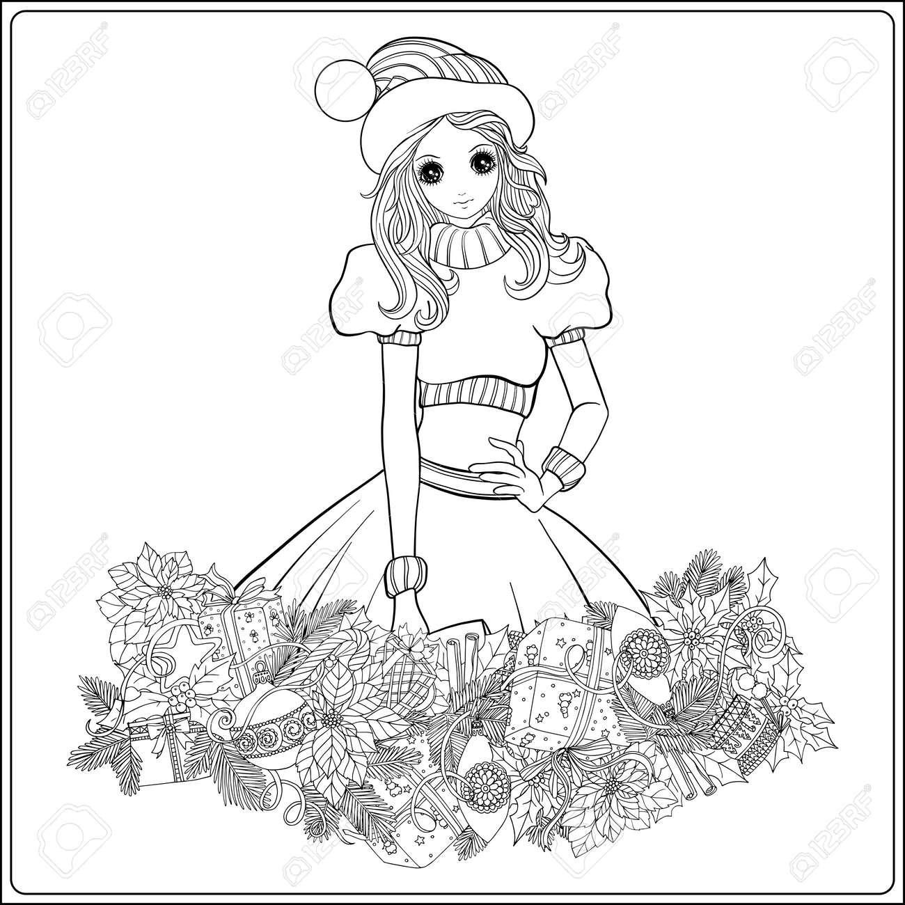 モミの枝やおもちゃのクリスマス リースとサンタ クロースの衣装やサンタ