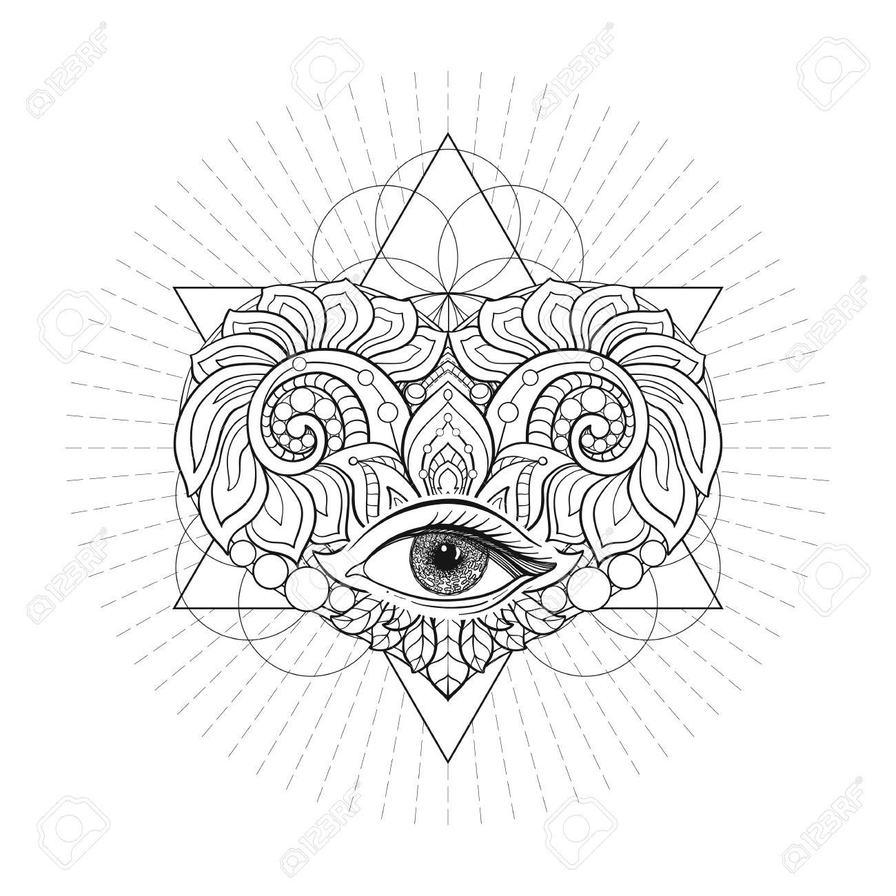 Vector ornamental Love Heart, sacred geometry, eye  Hand drawn