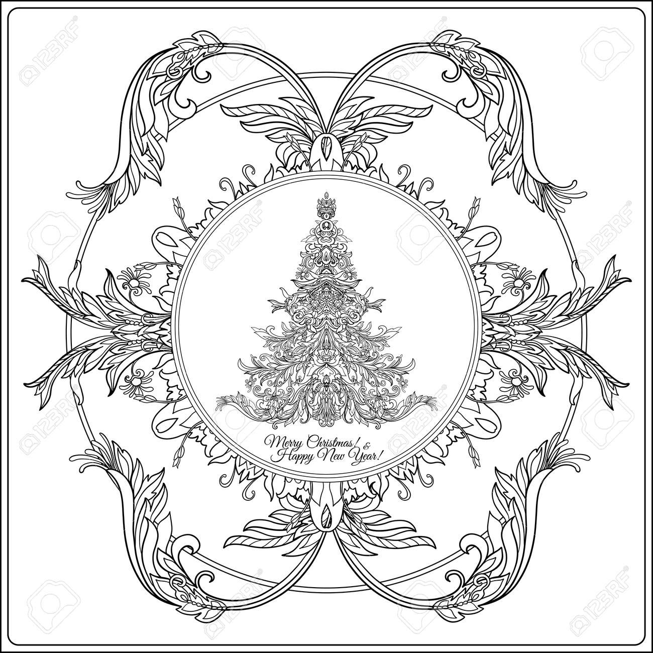 Decorative Christmas Tree In The Medieval Style Frame Outline