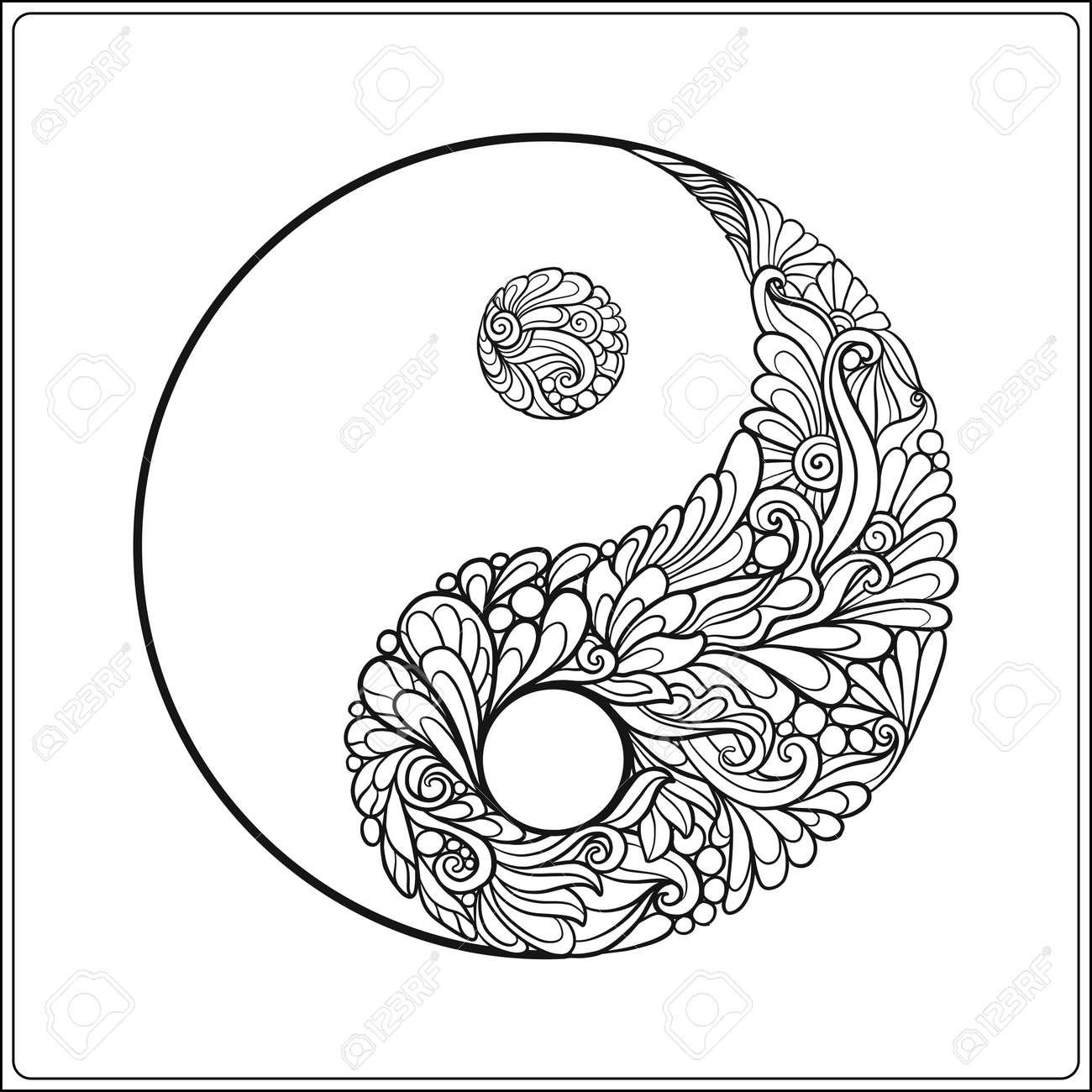 Símbolo De Yin Y Yang. En Oro Sobre Fondo Negro Libro Para Colorear ...