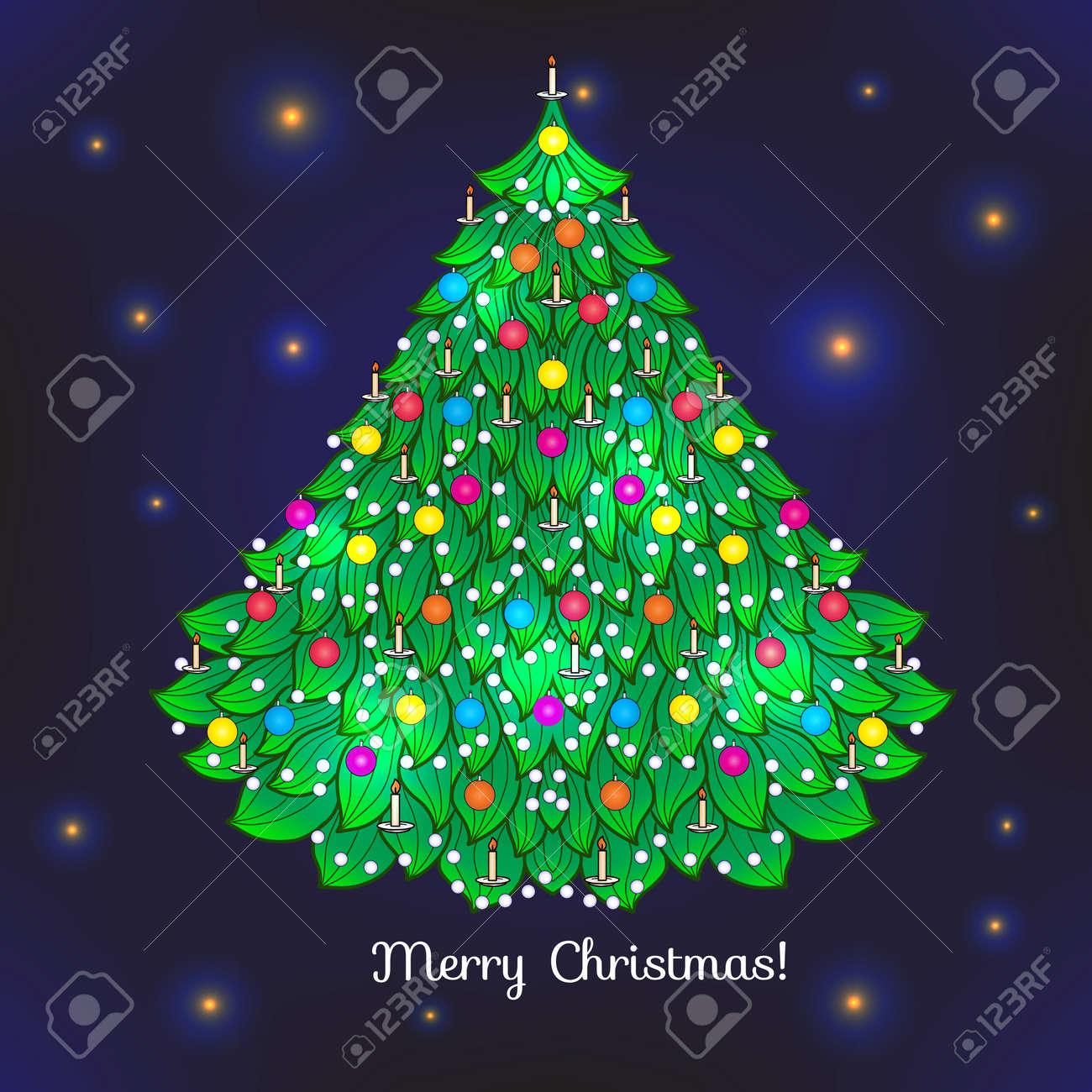 Sapin De Noël. Bon Pour Carte De Voeux Pour Anniversaire