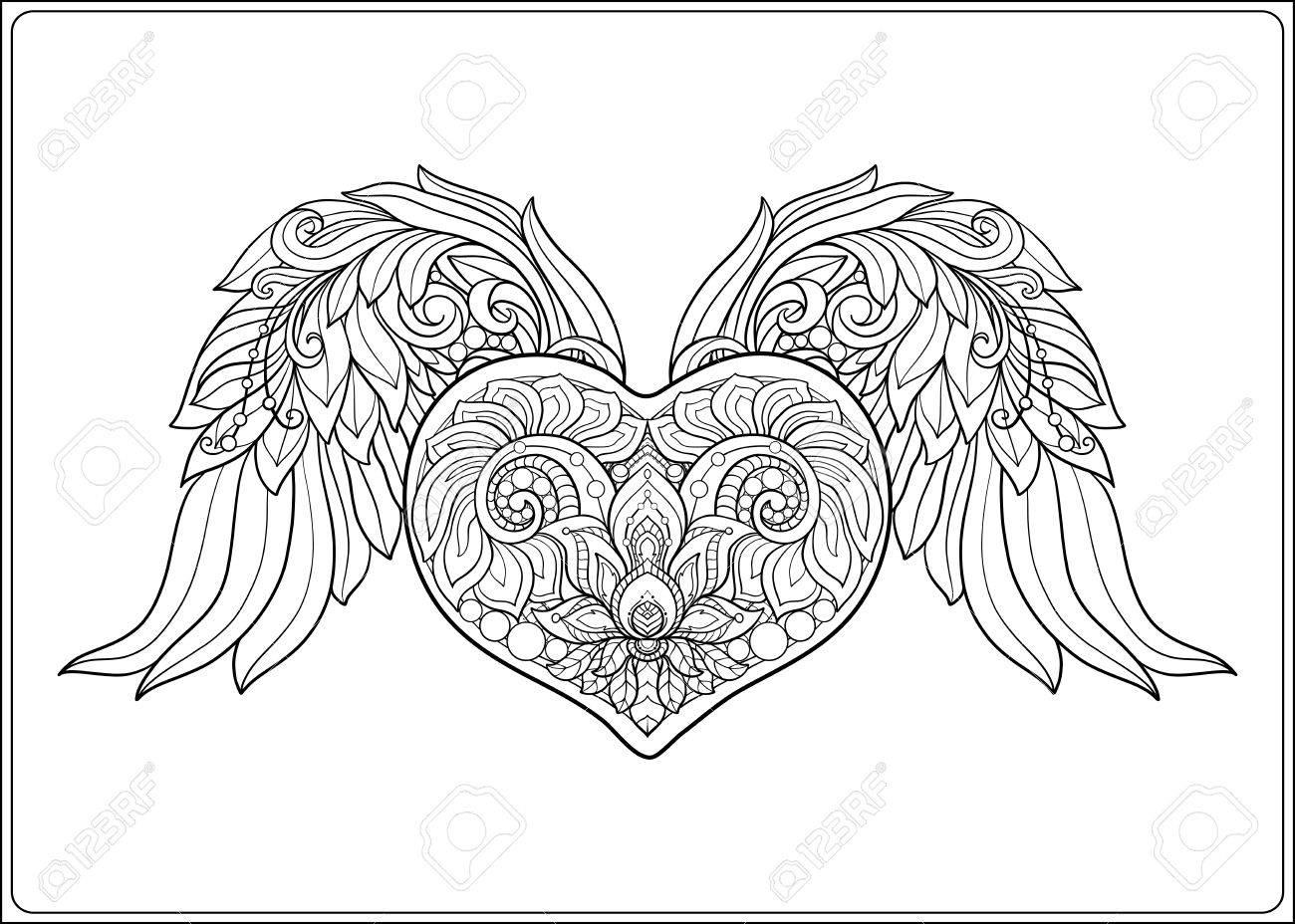 Coeur D Amour à Motifs Décoratifs Avec Des Ailes D Ange Illustration Vectorielle De Ligne De Stock Livre à Colorier Pour Adultes Dessin De Dessin