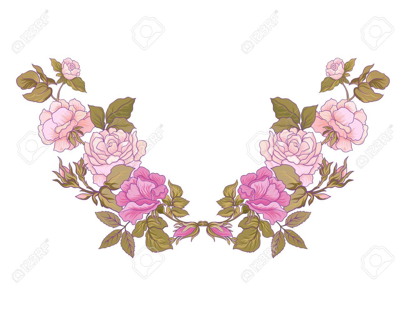 Diseños De Bordado Línea De Cuello Con Estampado De Flores Rosa ...