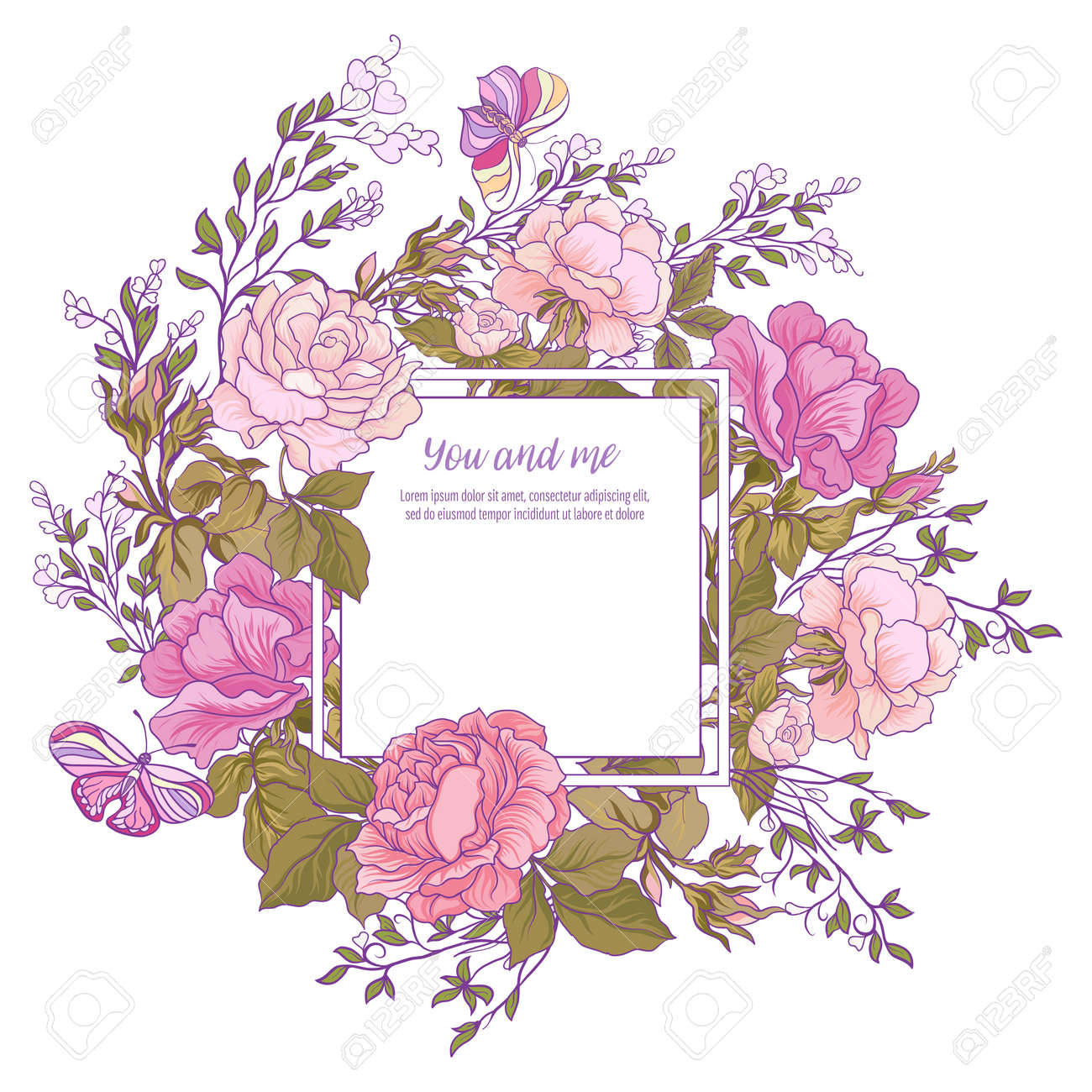 Rose Flower Background Good For Greeting Card Birthday Invitation Or Banner Stock