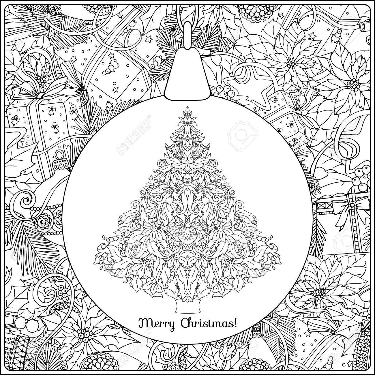 クリスマス ツリーとクリスマス リースの背景に装飾的なグッズで装飾品