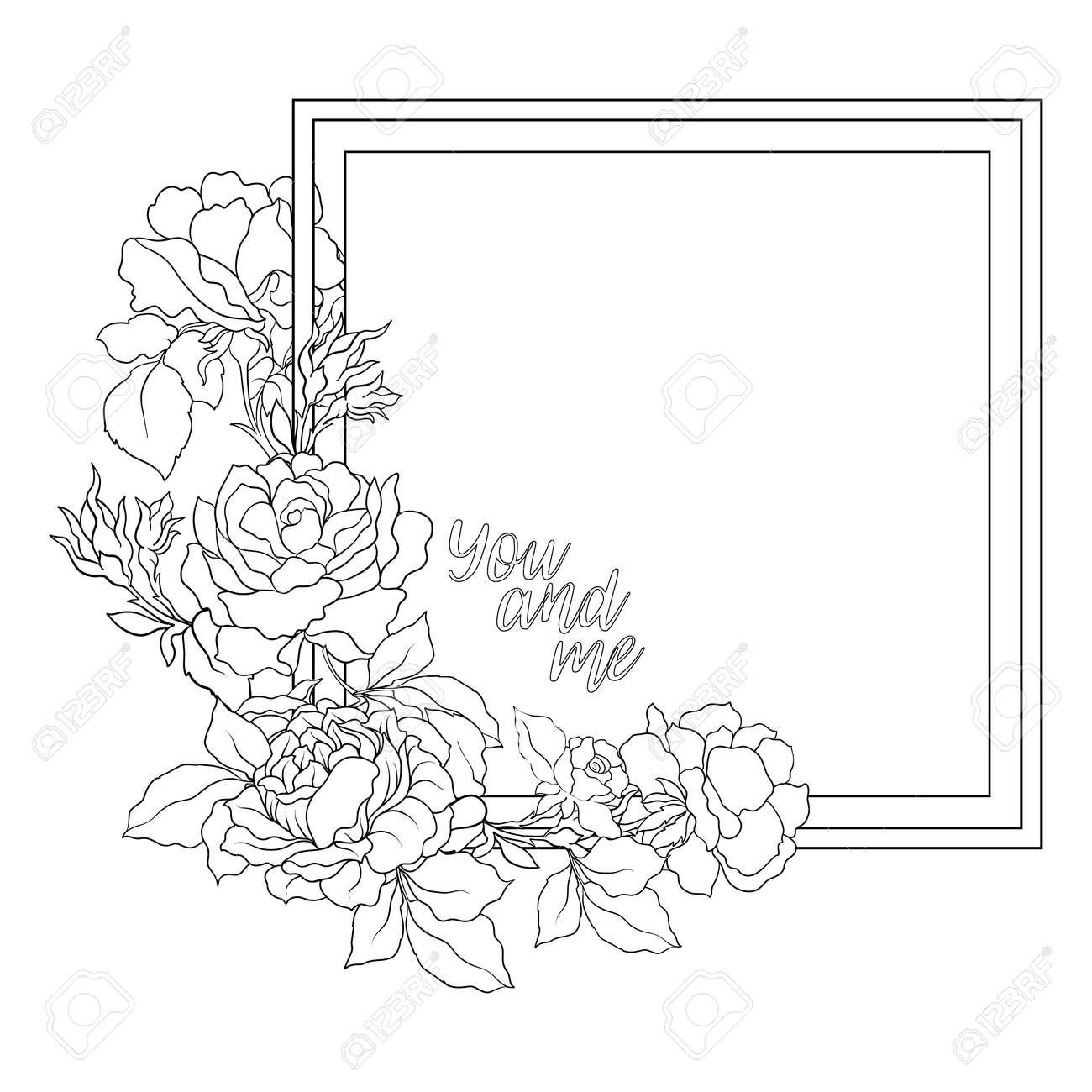 Rose Blume Hintergrund Mit Platz Für Text. Skizzieren Malvorlagen ...