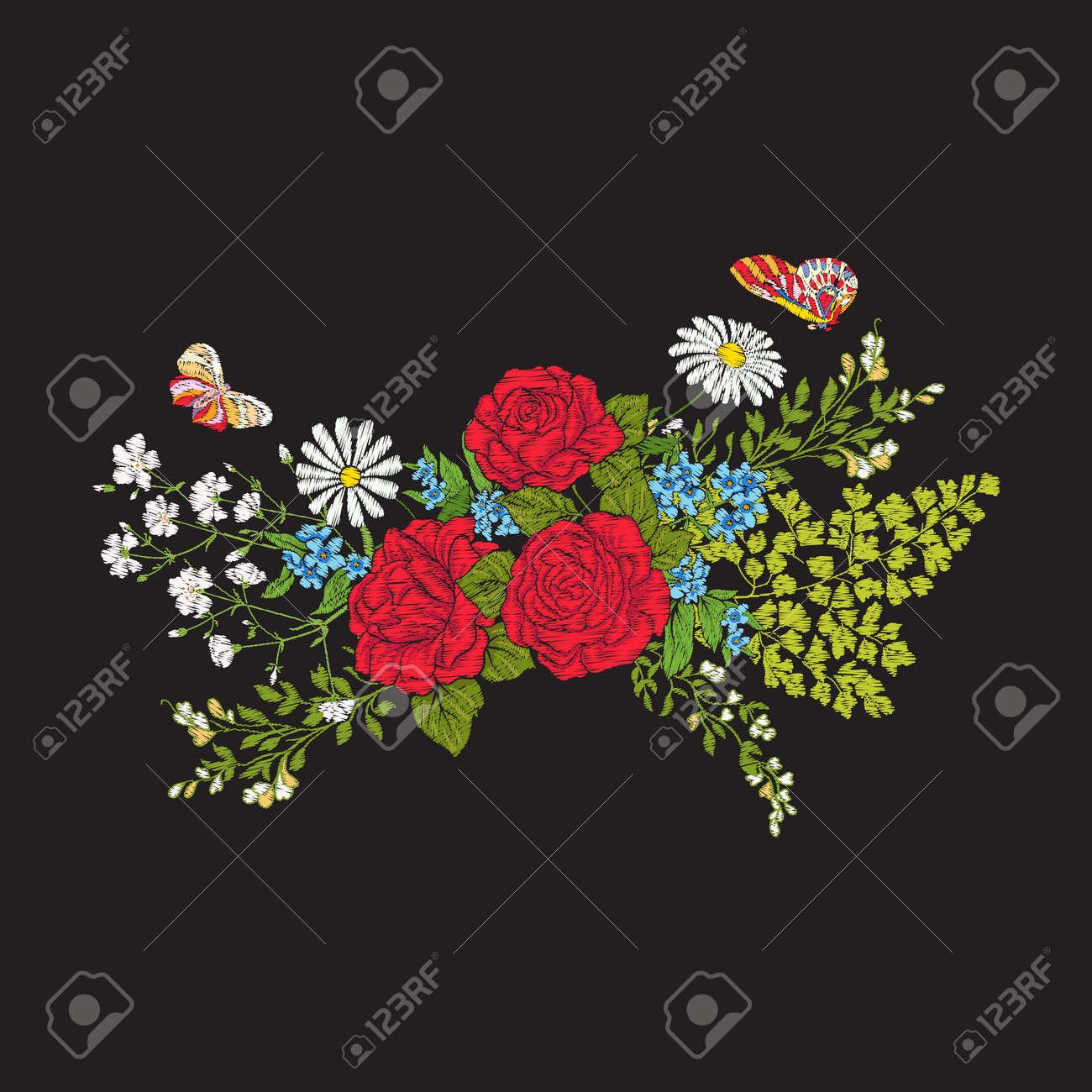 Bordado. Ramo Con Rosas Y Margaritas. Patrón Europeo Tradicional ...