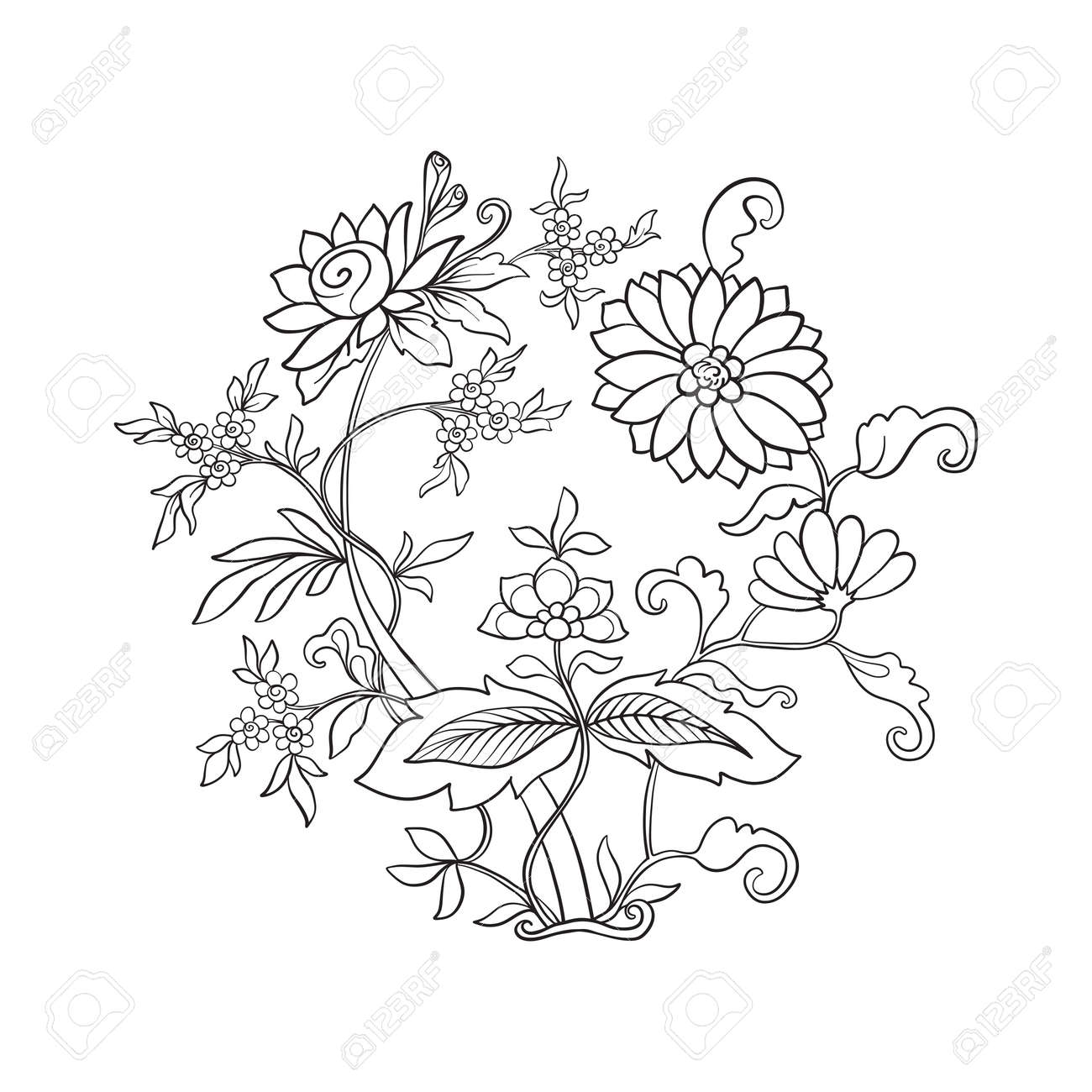 Outline Vintage Flowers Bouquet Or Pattern In Rococo, Victorian ...