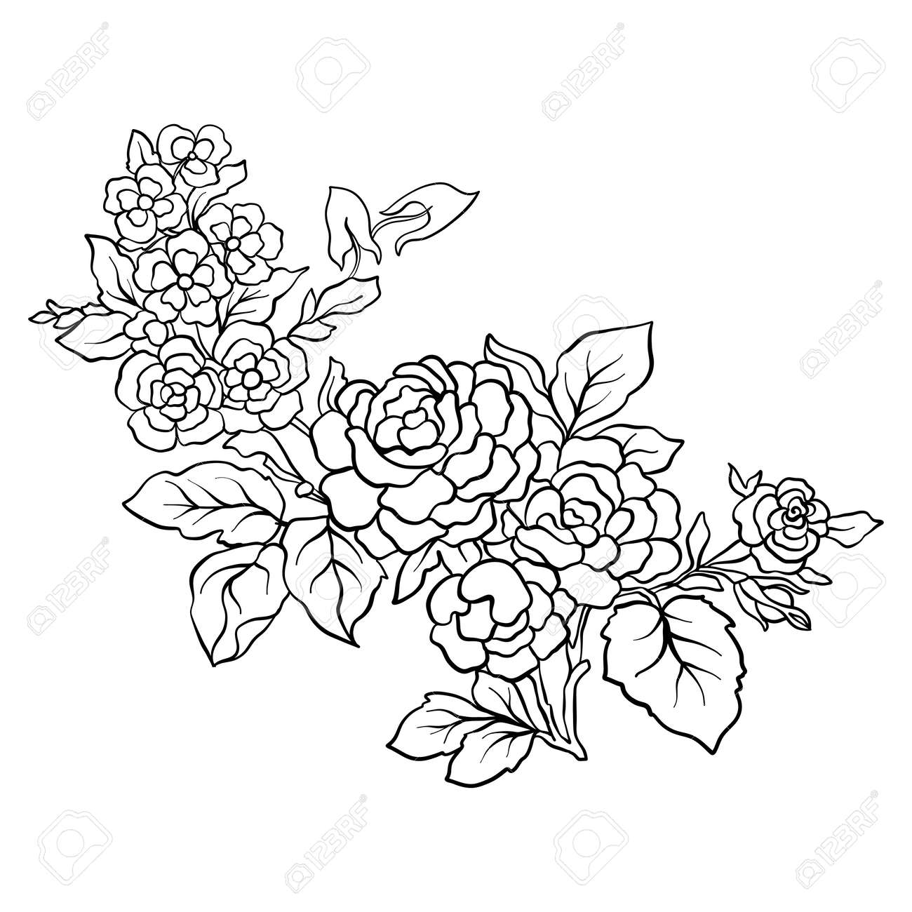 Outline vintage flowers bouquet or pattern