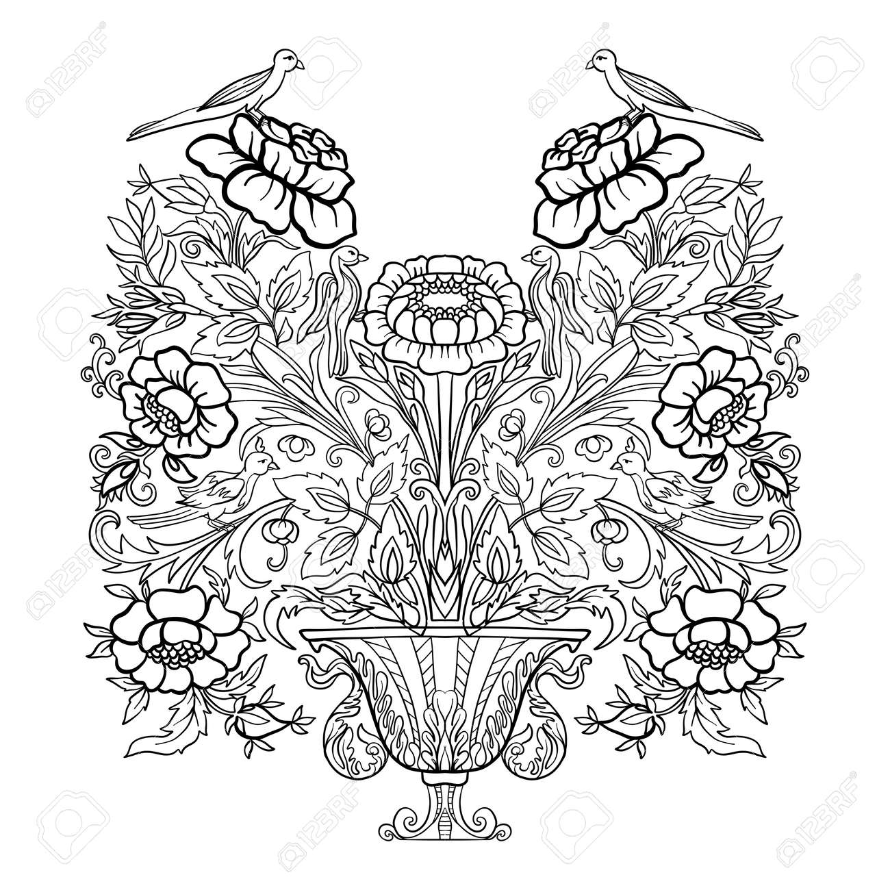 Outline vintage flowers bouquet or pattern royalty free cliparts outline vintage flowers bouquet or pattern stock vector 79512659 izmirmasajfo