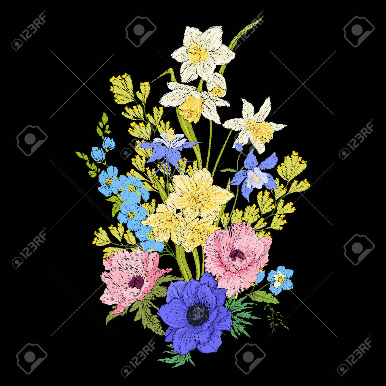 Embroidery vintage flowers bouquet of poppy daffodil anemone embroidery vintage flowers bouquet of poppy daffodil anemone stock vector 79563033 izmirmasajfo