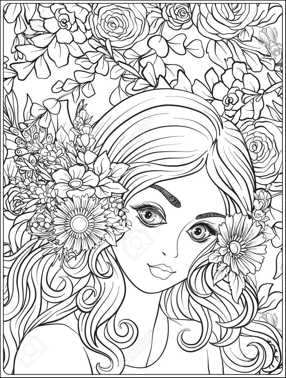 Une Jeune Fille Jolie Avec Une Couronne De Fleurs Sur Sa Tête Contre Le Fond D Un Motif De Fleurs Dessin De Dessin à La Main Pour La Page De