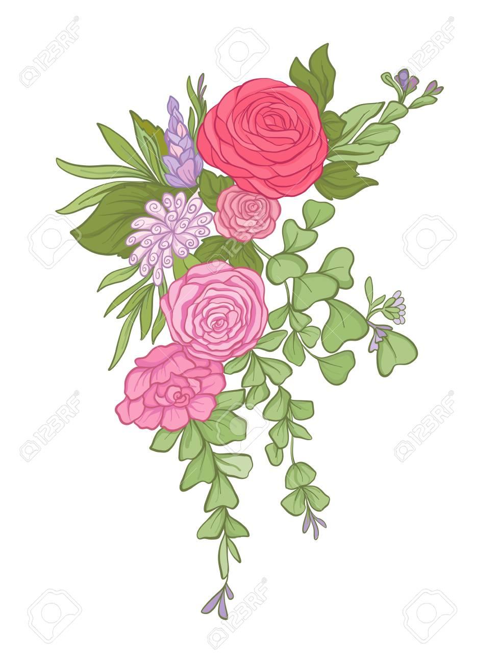 花の花束。ストック ライン ベクトル イラスト。 ロイヤリティフリー