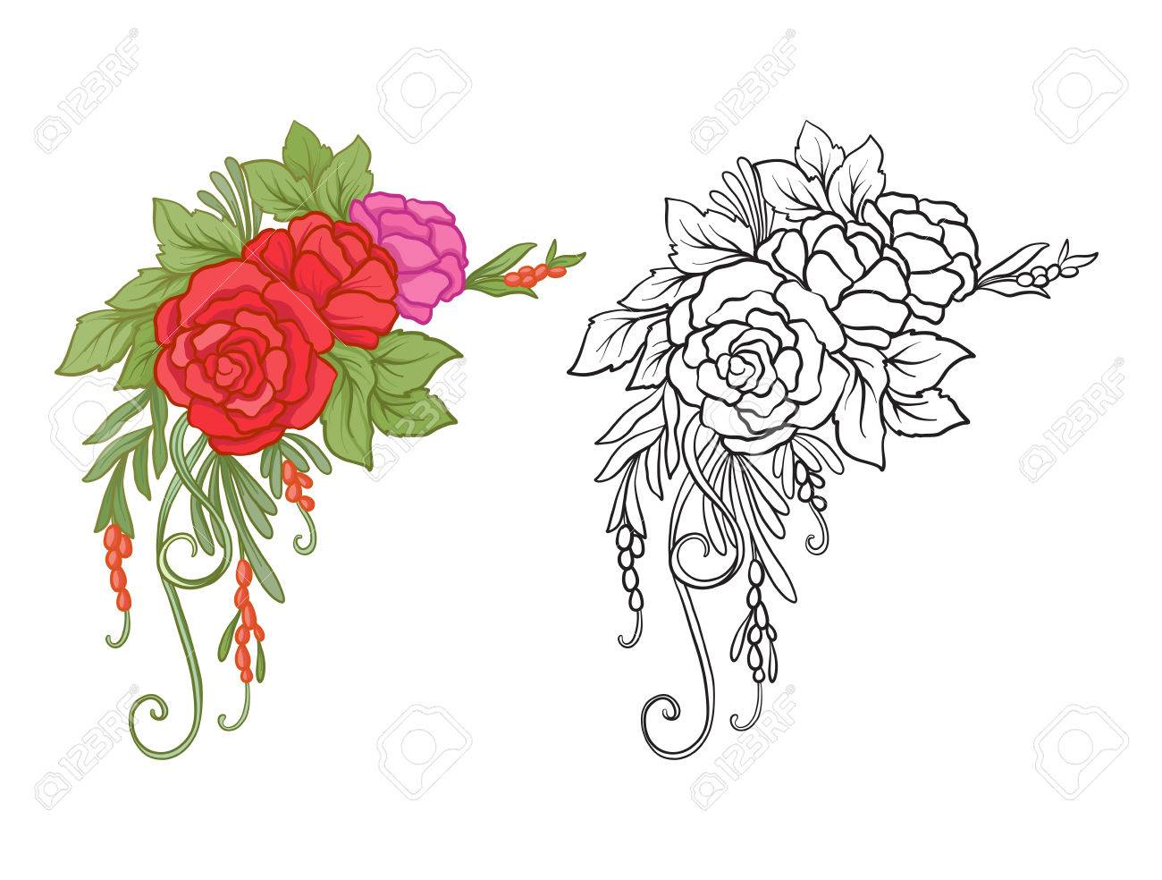 Set of colored and outline bouquet of flowers royalty fri clipart set of colored and outline bouquet of flowers stockfoto 81958761 izmirmasajfo