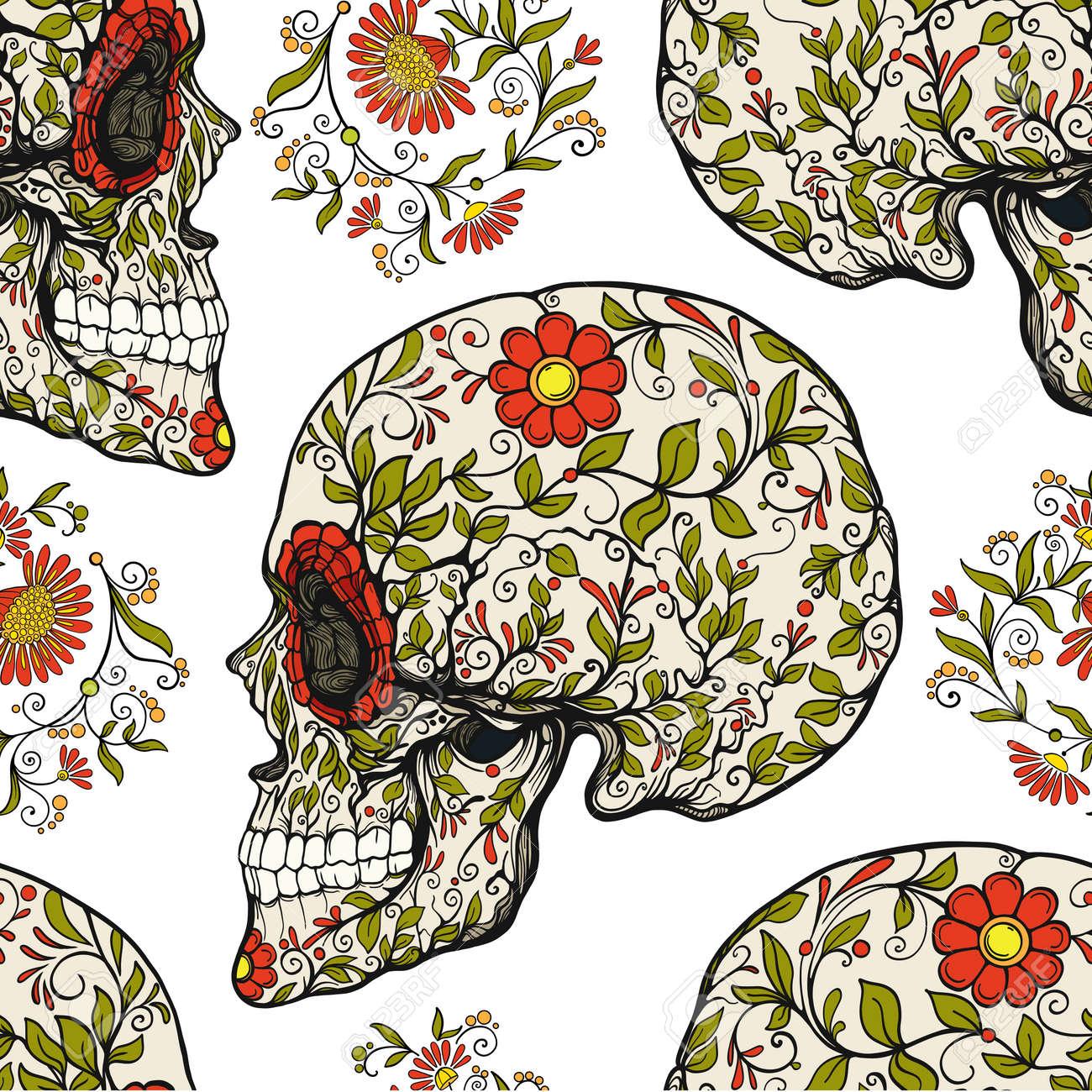 floral skull pattern INSTANT DOWNLOAD custom fabric Vintage skull pattern seamless pattern sugar skull pattern vintage floral pattern