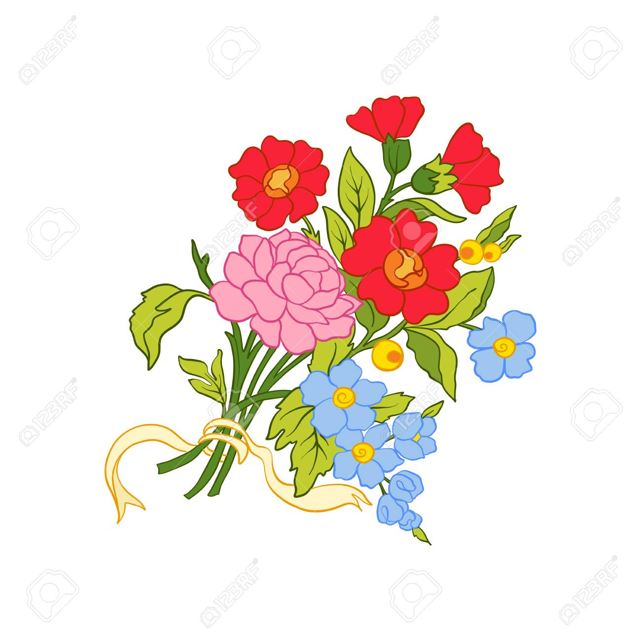 colored vintage flowers bouquet or pattern royalty free cliparts rh 123rf com vintage flower vector pattern vintage flower vector png