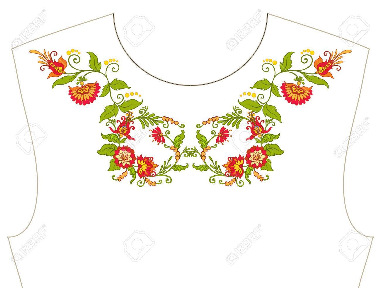 Bordado Para Escote, Cuello Para Camiseta, Blusa, Camisa. Patrón De ...