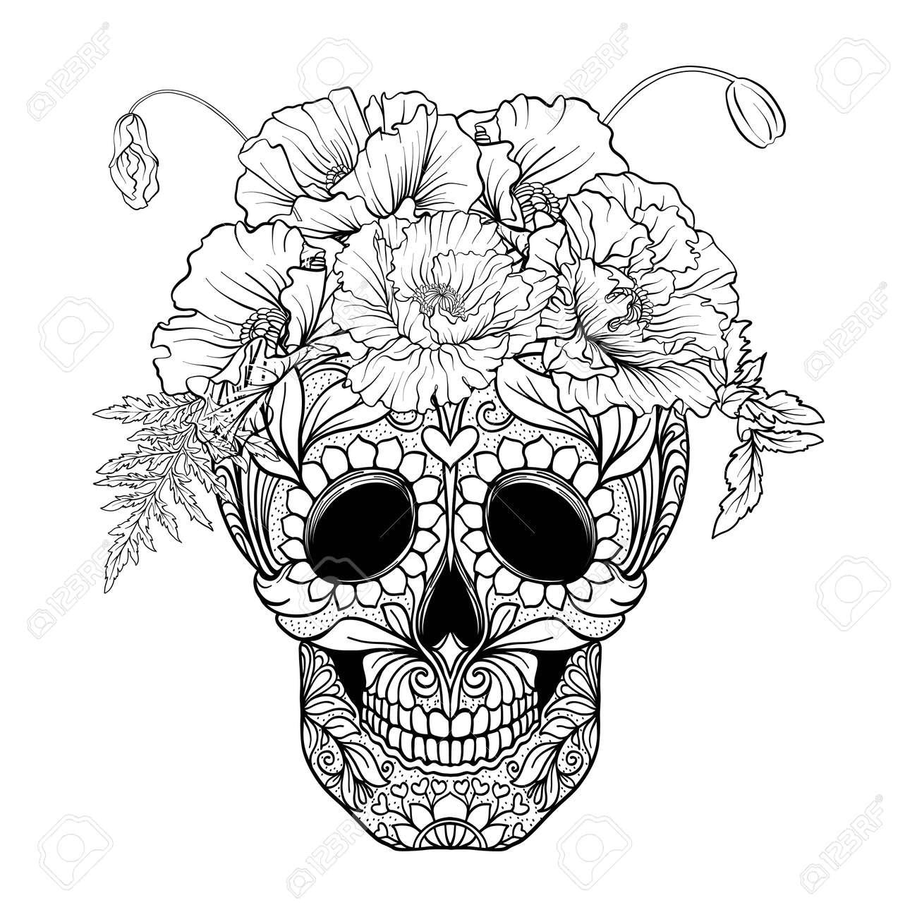 Cráneo Del Azúcar Con El Modelo Decorativo Y Una Guirnalda De