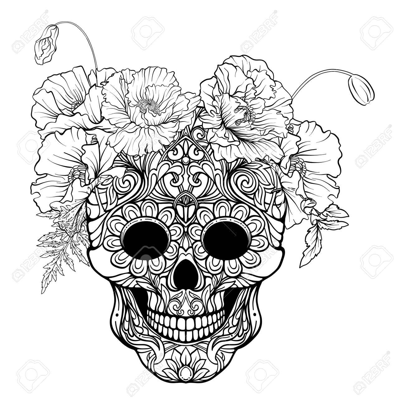 Cráneo Del Azúcar Con El Modelo Decorativo Y Una Guirnalda De ...