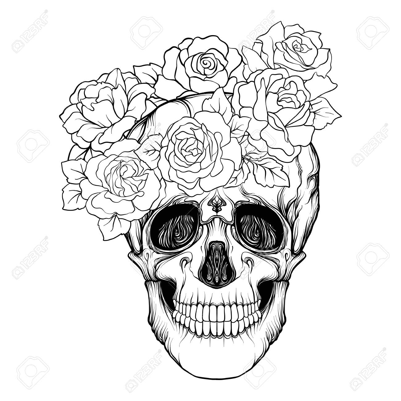 Sugar Skull With Decorative Pattern And A Wreath Of Red Roses ...