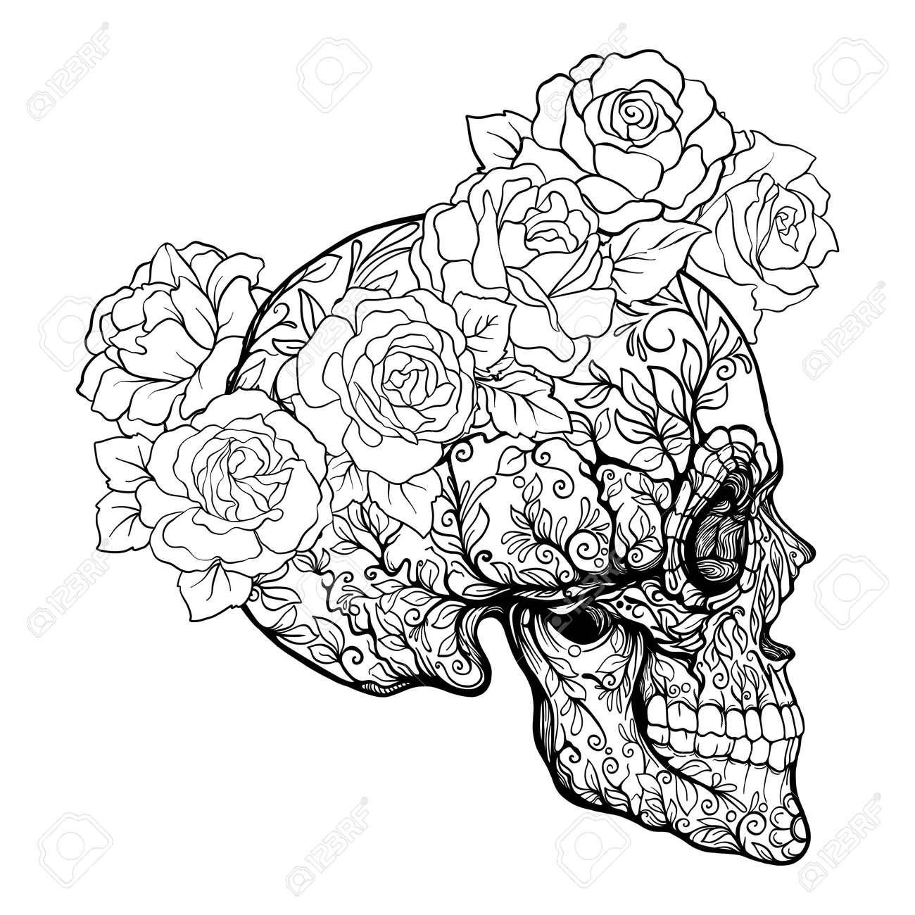 Zuckerschädel Mit Dekorativem Muster Und Einem Kranz Aus Roten Rosen