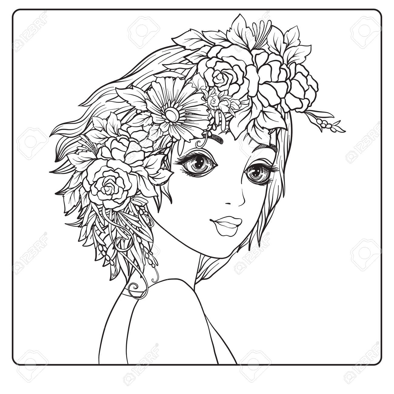 A Young Beautiful Girl With A Wreath Of Flowers On Her Head ...