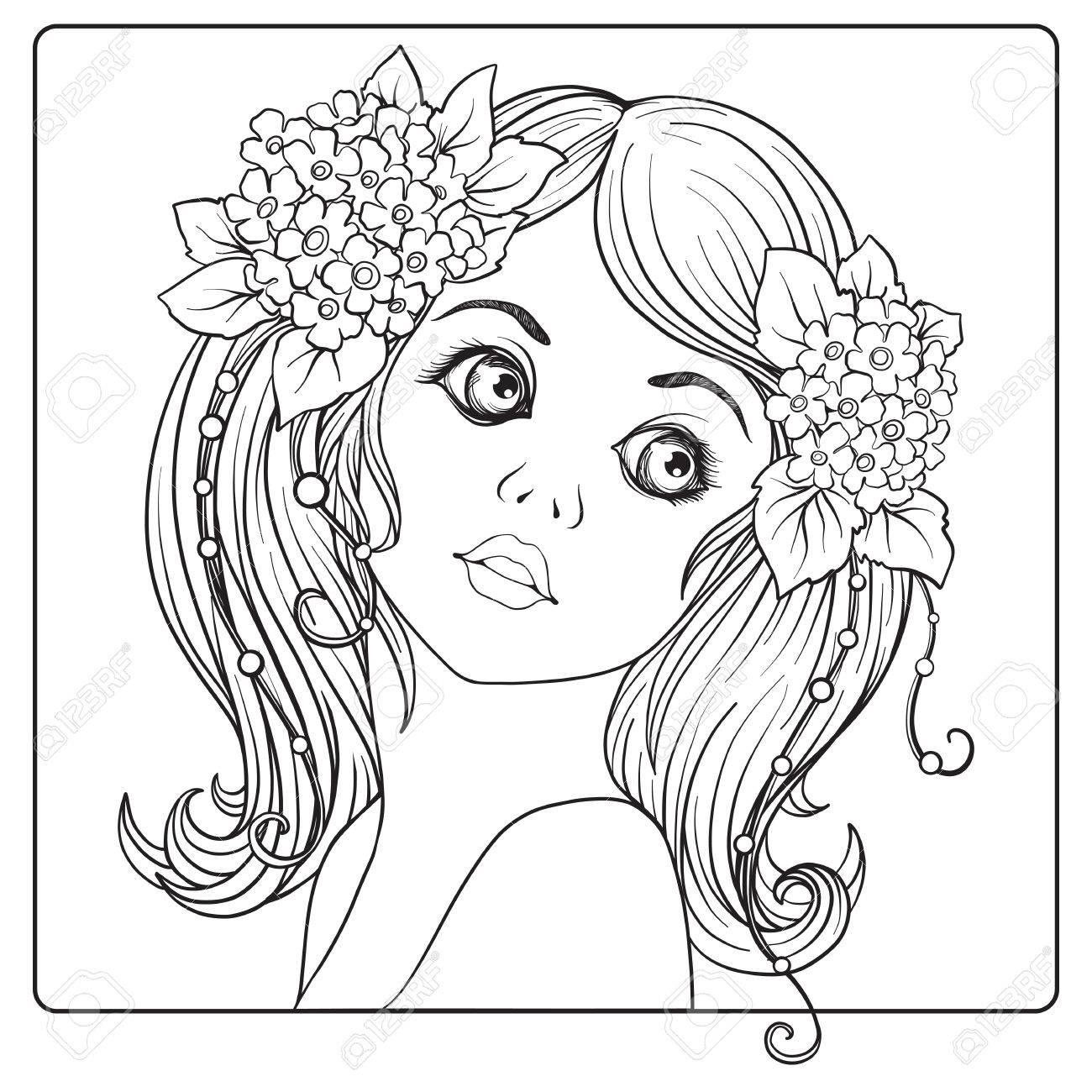 Una Niña Hermosa Con Una Corona De Flores En La Cabeza. Página Para ...