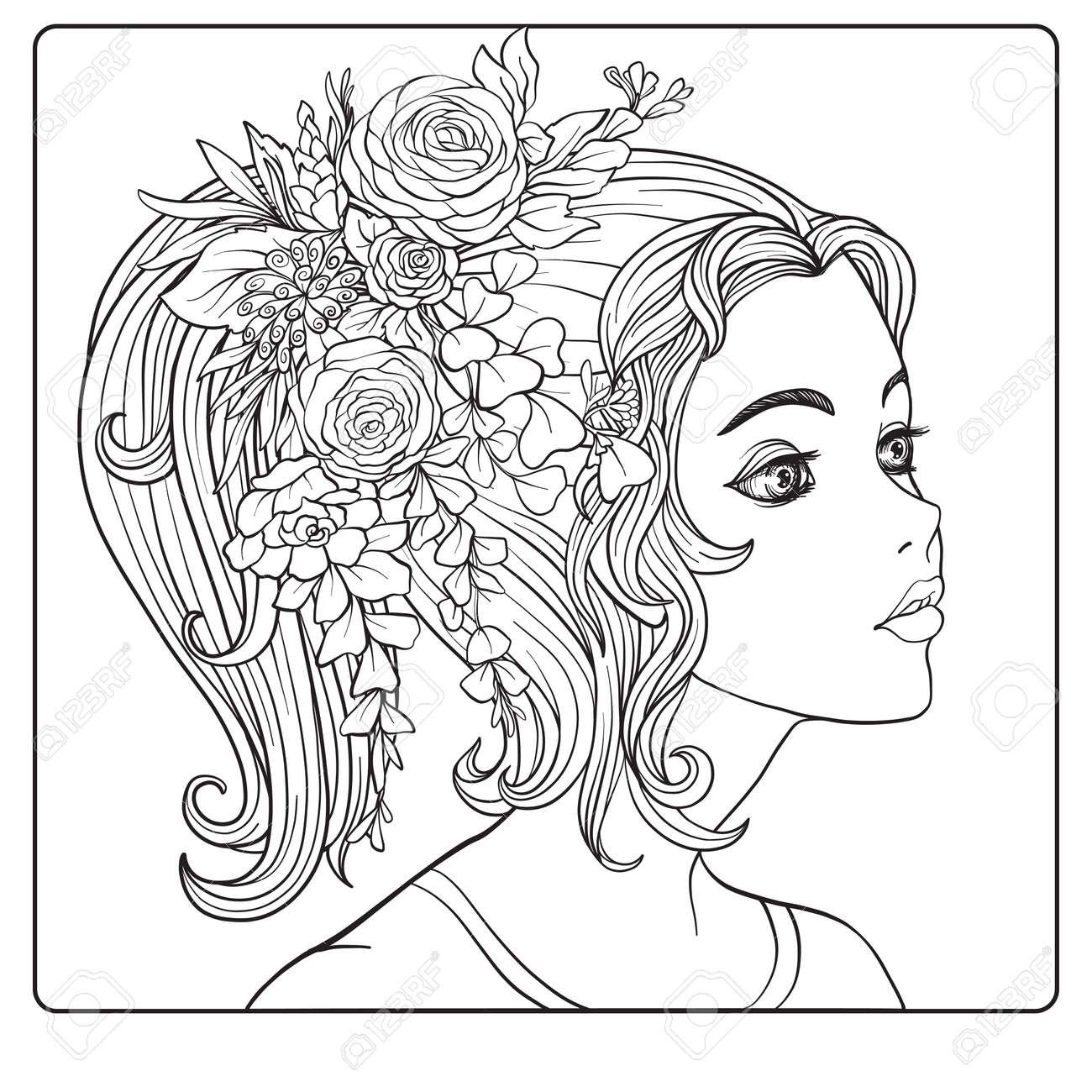 Une Jeune Fille Belle Avec Une Couronne De Fleurs Sur Sa Tête Coloriage De Dessin De Main De Contour Pour Le Livre De Coloriage Adulte