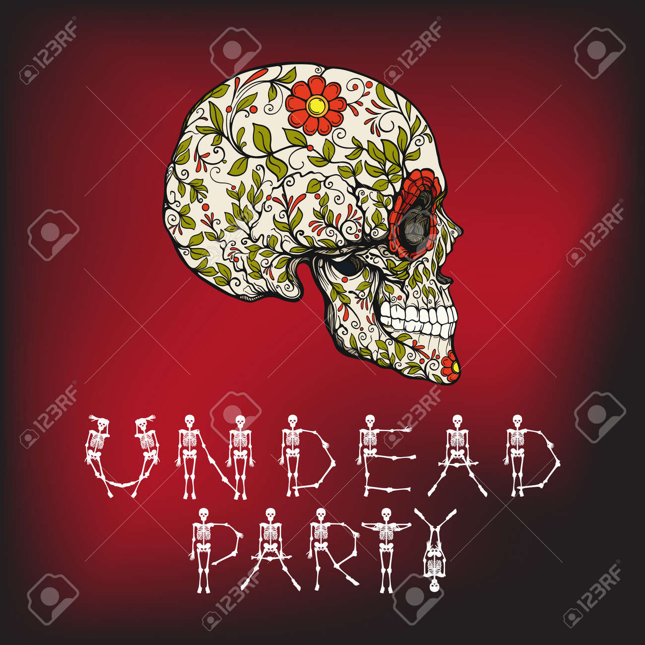 Undead party banner with sugar skull the traditional symbol undead party banner with sugar skull the traditional symbol of the day of the dead buycottarizona Images