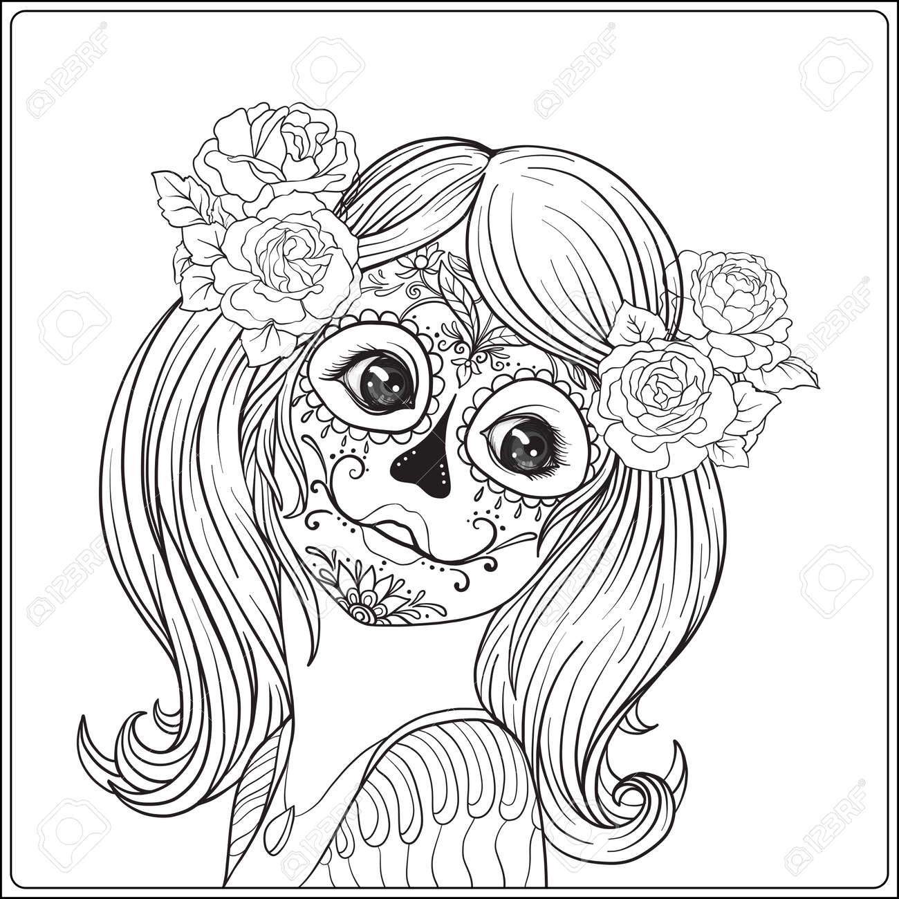 Retrato De Una Joven Hermosa En Halloween O Día De Los Muertos ...