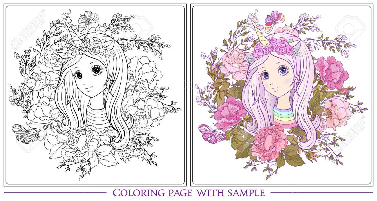 Chica Joven Y Bonita Con Larga Escuchar En Unicornio Cuerno Sombrero El Jardín De Rosas Dibujo De Página Para Colorear Con Muestra De Color Libro De
