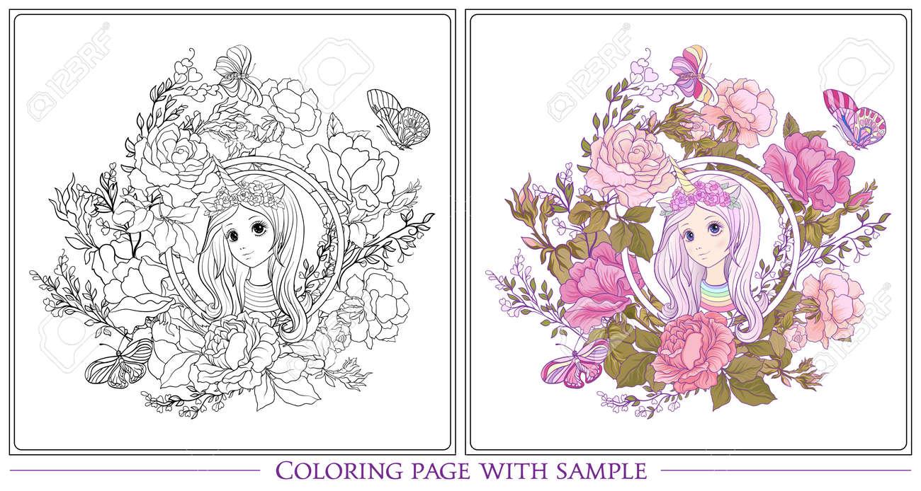 Chica Joven Y Bonita Con Mucho Tiempo Escuchar En El Cuerno De Unicornio Sombrero El Jardín De Rosas Dibujo De Página Para Colorear Con Muestra De
