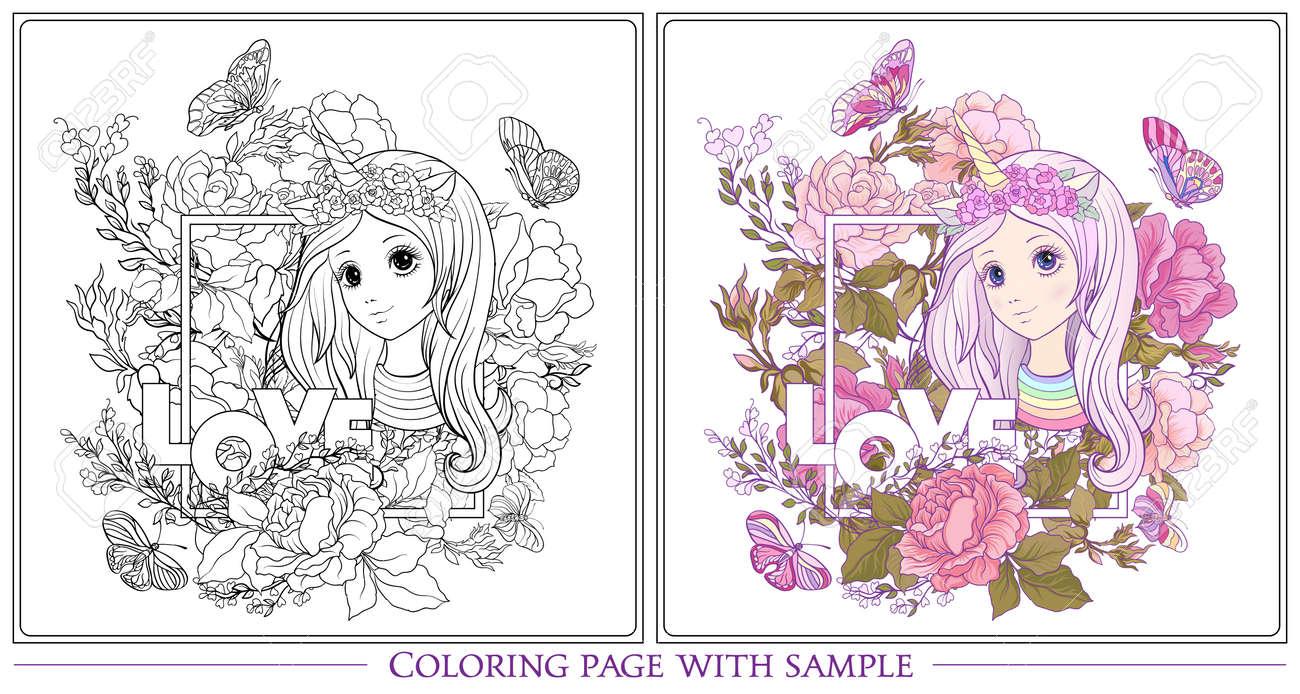 Niña Bonita Con Pelo Largo Y Un Cuerno De Unicornio Rodeado De Flores Dibujo De Dibujo Para Colorear Página Con Muestra De Color Libro De Colorear