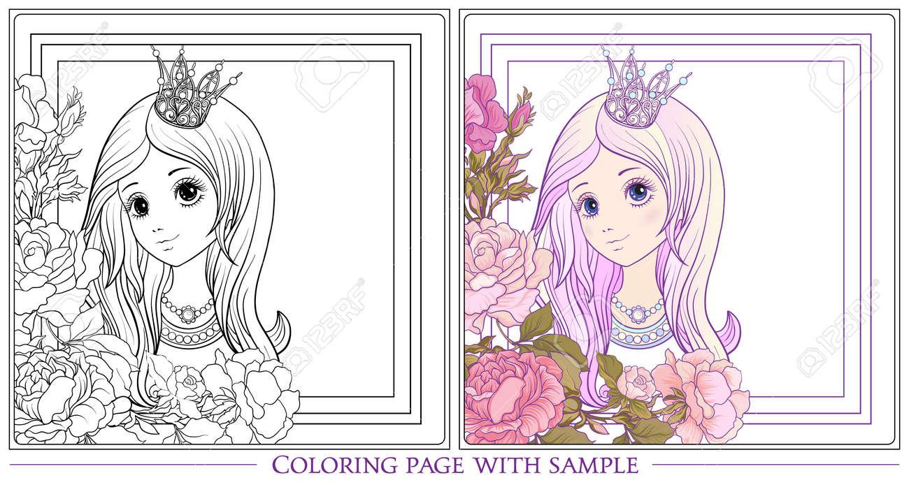 Muchacha Agradable Joven Con Largo Escuchar Con Corona De Princesa En El Jardín De Rosas Con Muestra De Color Dibujo Para Colorear Dibujo Para