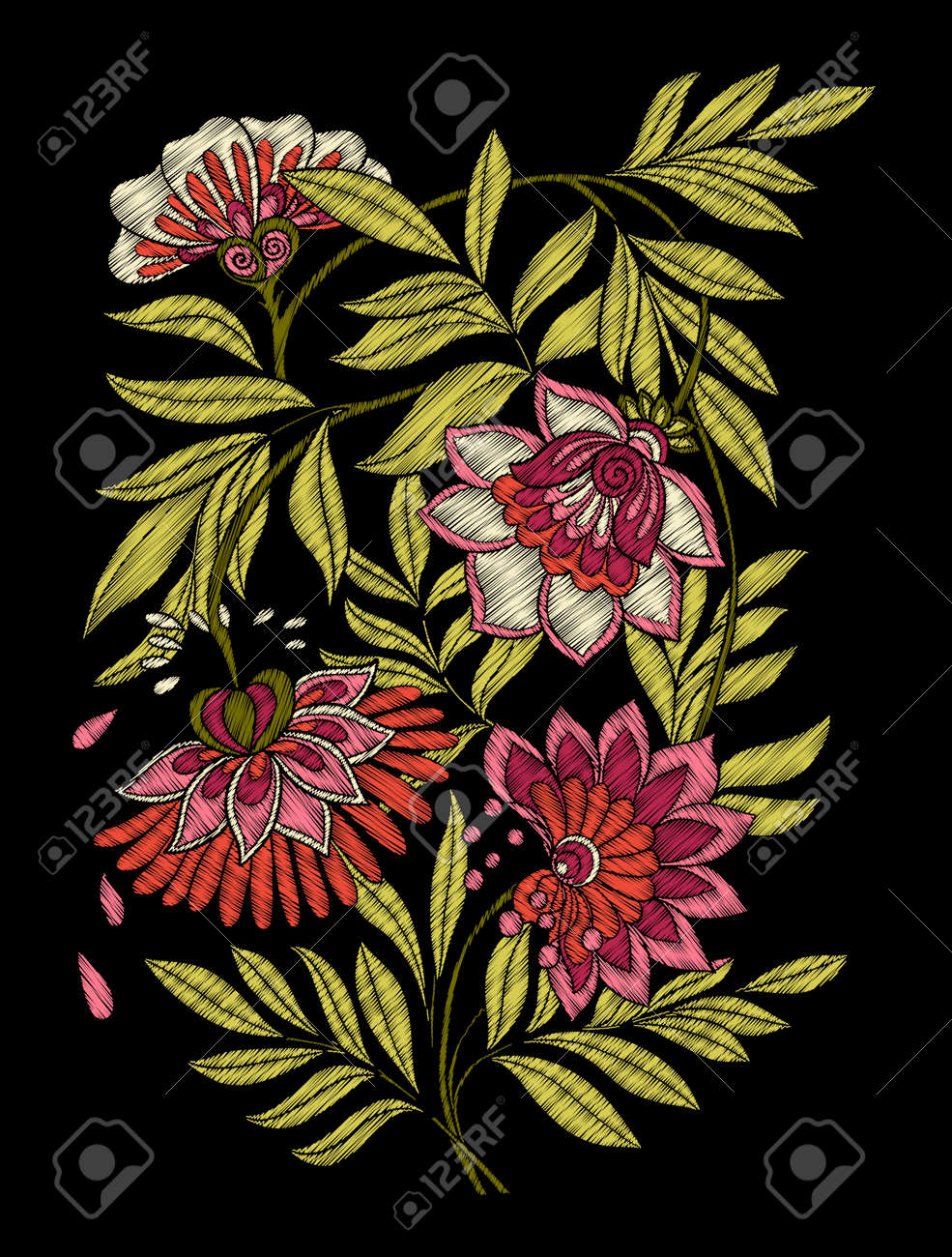 Embroidery Embroidered Design Elements With Flowers And Leaves Royalty Free Cliparts Vectors And Stock Illustration Image 86220322