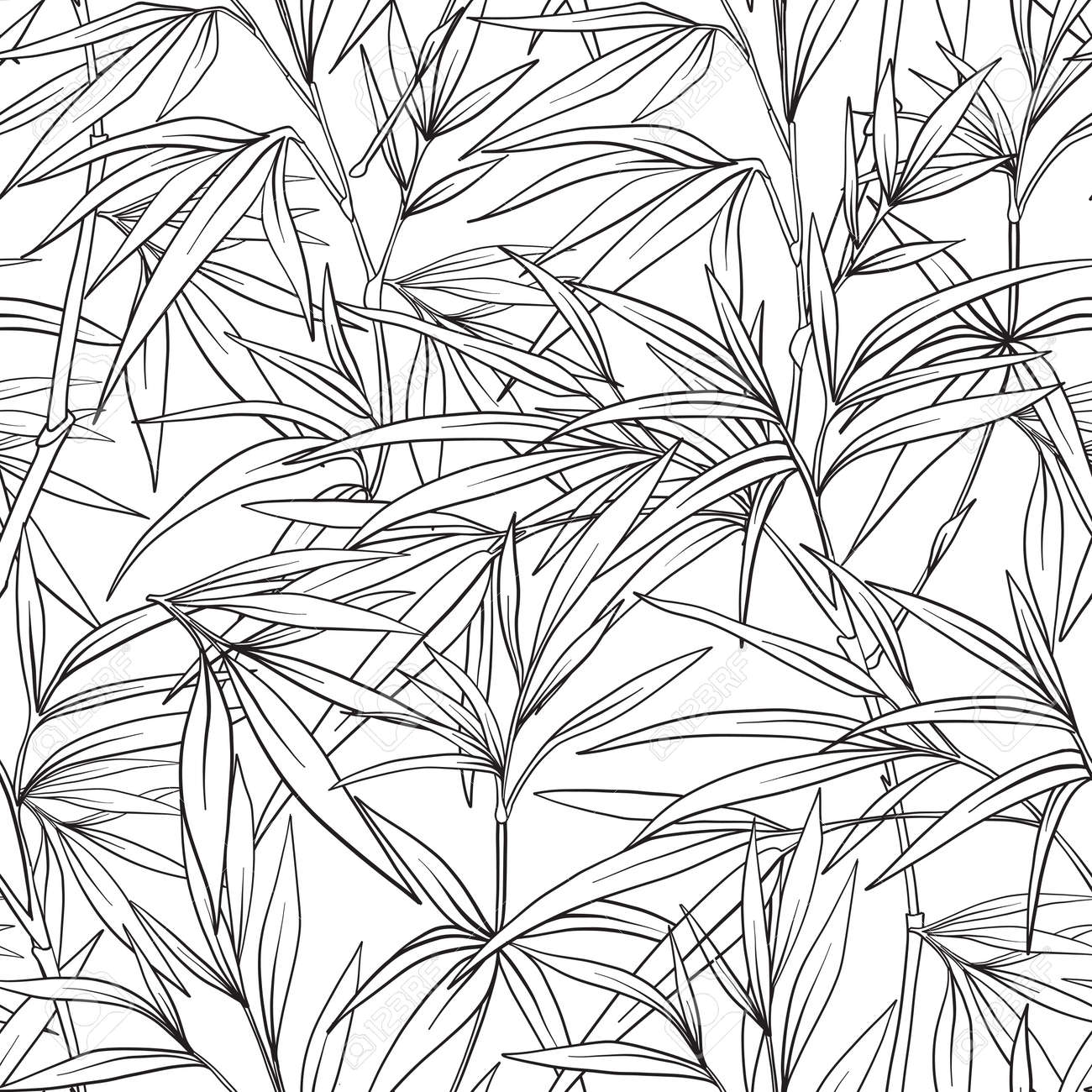 Patrón Sin Fisuras Con Bambú En Estilo Japonés. Dibujo De Dibujo ...