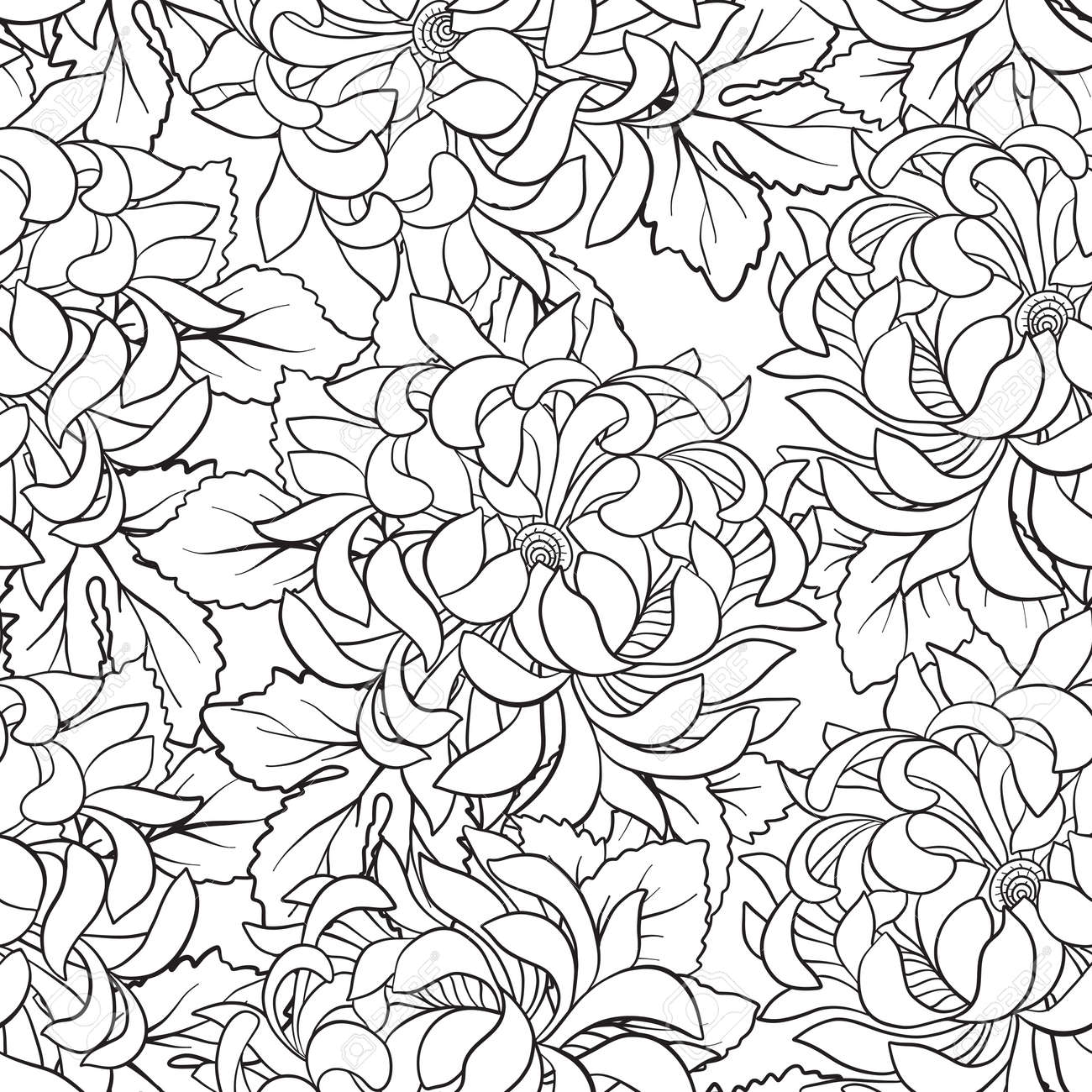 Seamless Pattern With Chrysanthemum In Japanese Style. Outline ...