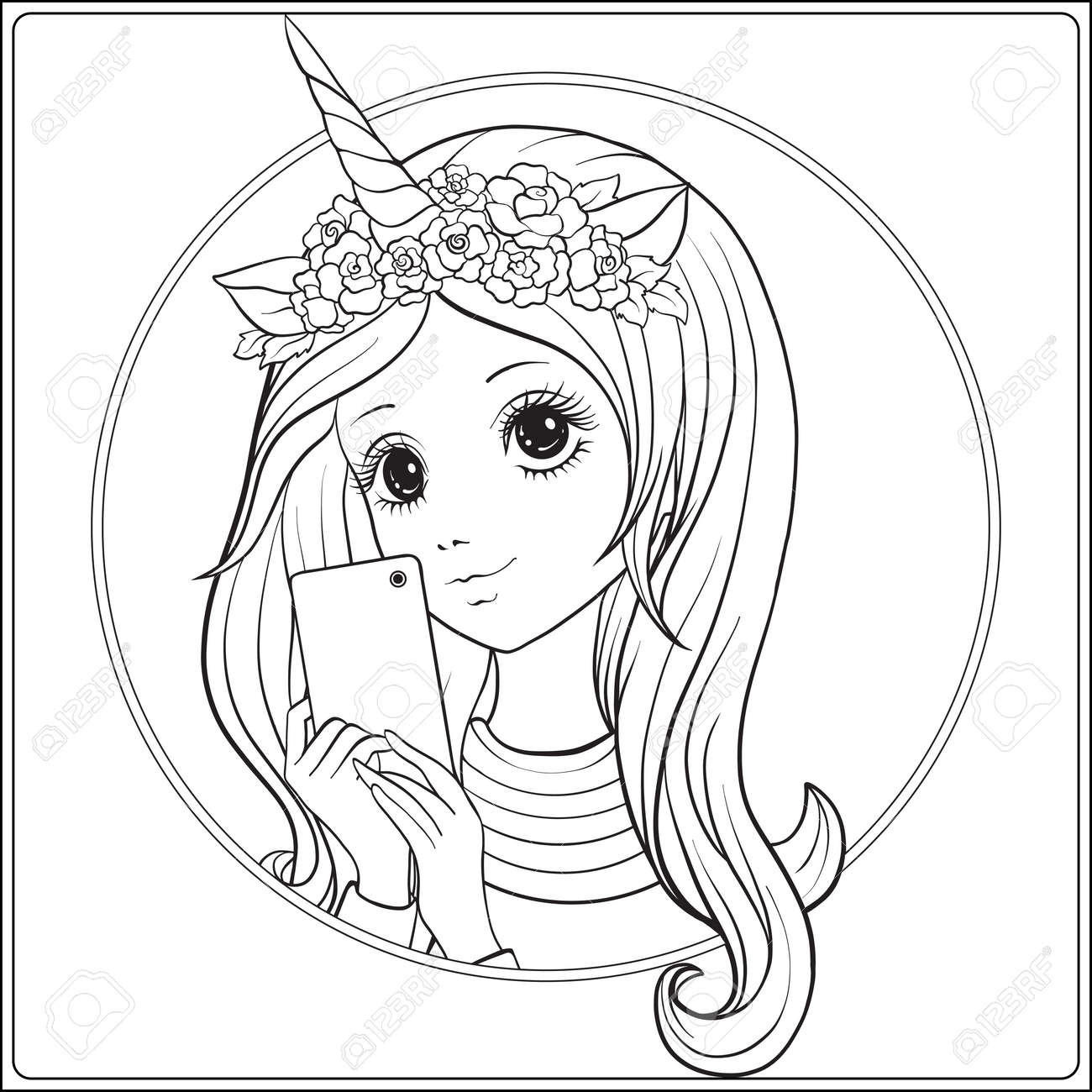 Young nice girl with long hear and unicorn horn and roses on