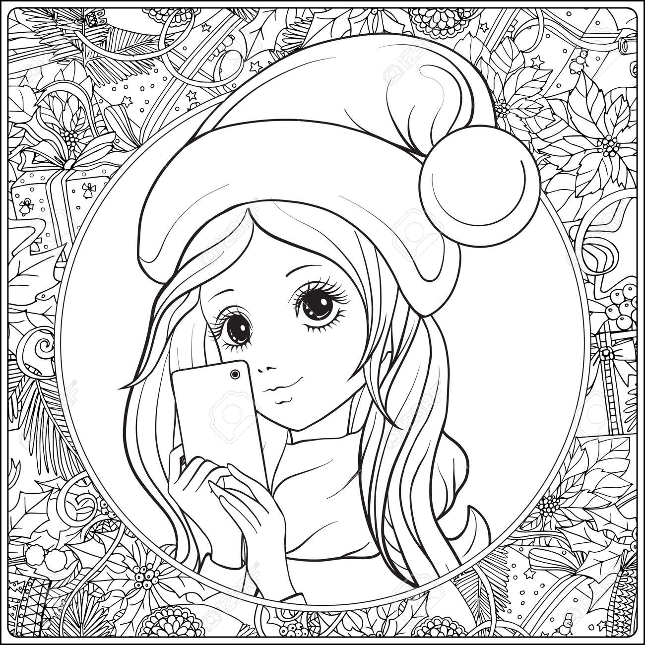 vector young nice girl with long hear and santa claus hat on her head make selfie or photograph on a mobile phone outline drawing coloring page